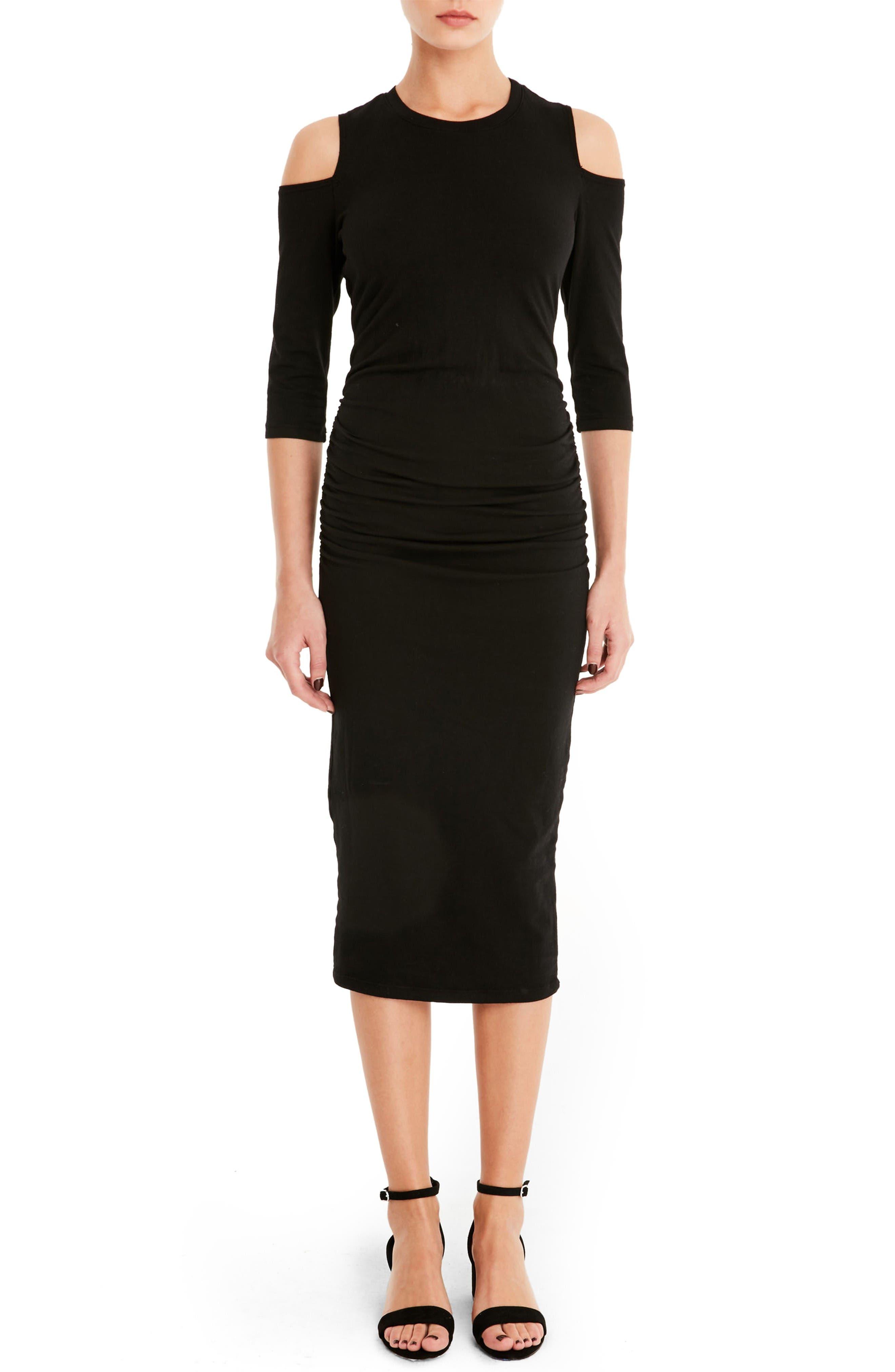 Cold Shoulder Midi Dress,                         Main,                         color, Black