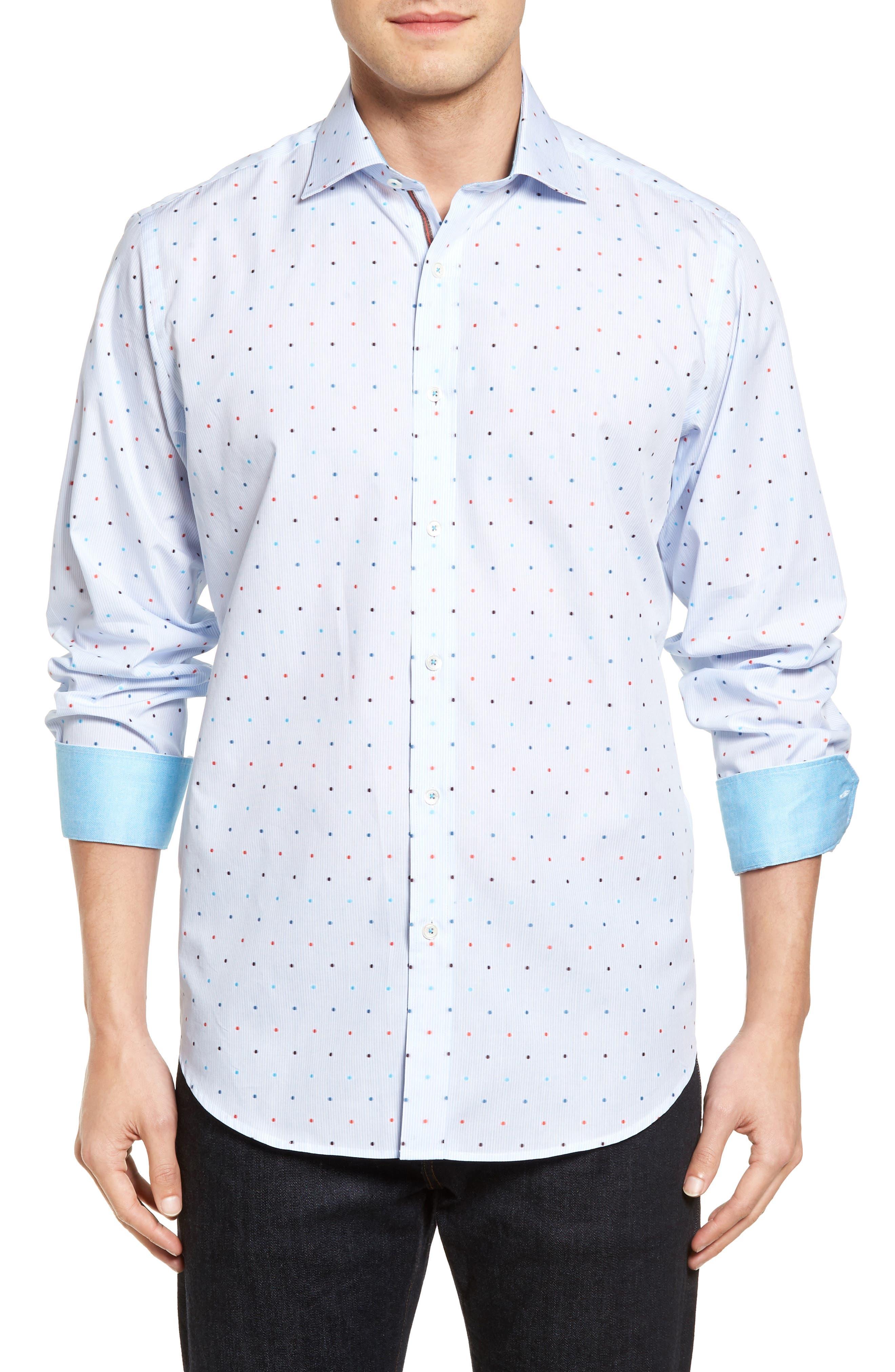 Classic Fit Dot Sport Shirt,                         Main,                         color, Sky