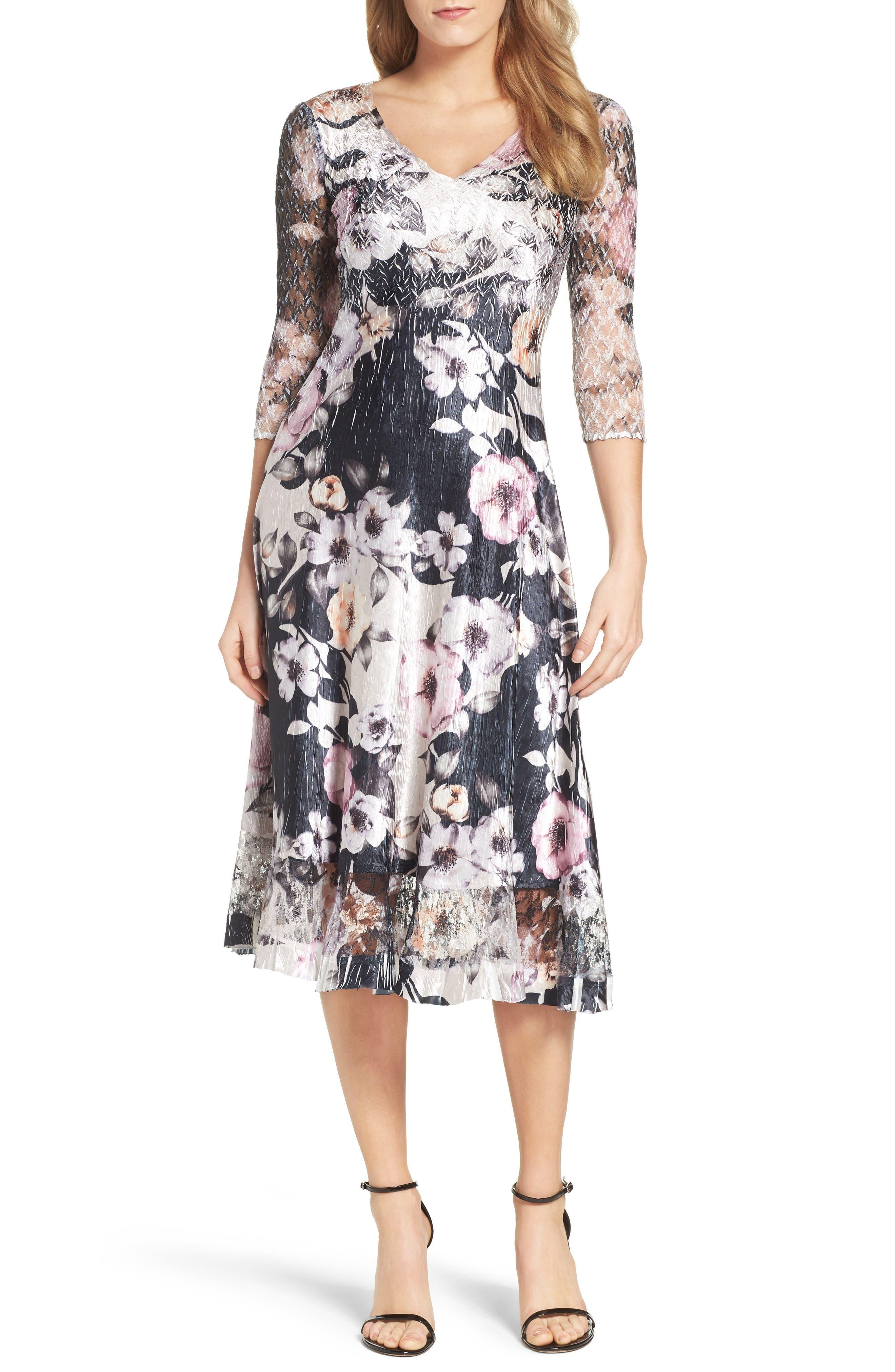 Main Image - Komarov Print Lace & Charmeuse Dress (Regular & Petite)
