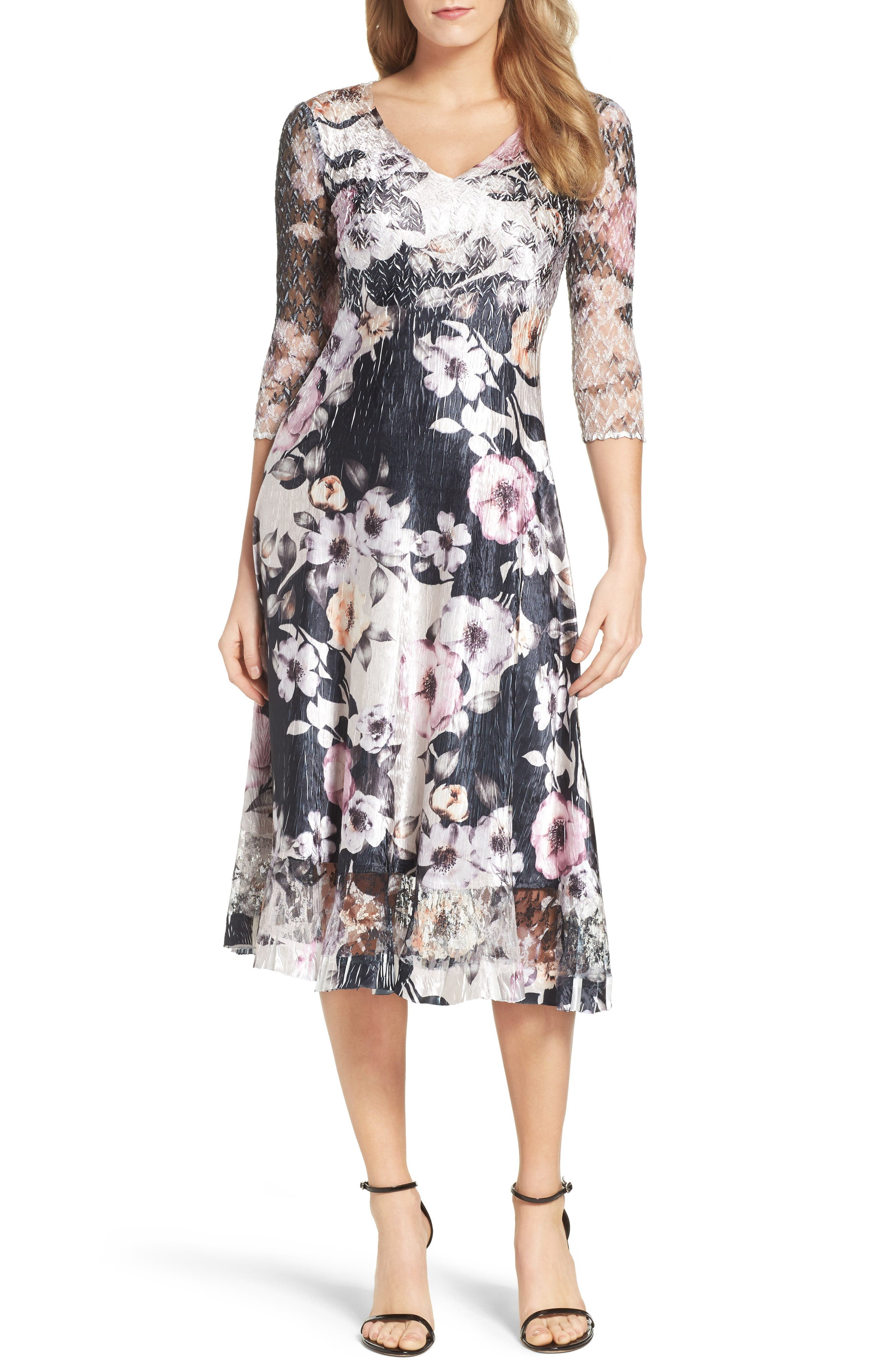 Print Lace & Charmeuse Dress,                         Main,                         color, Velvet Night