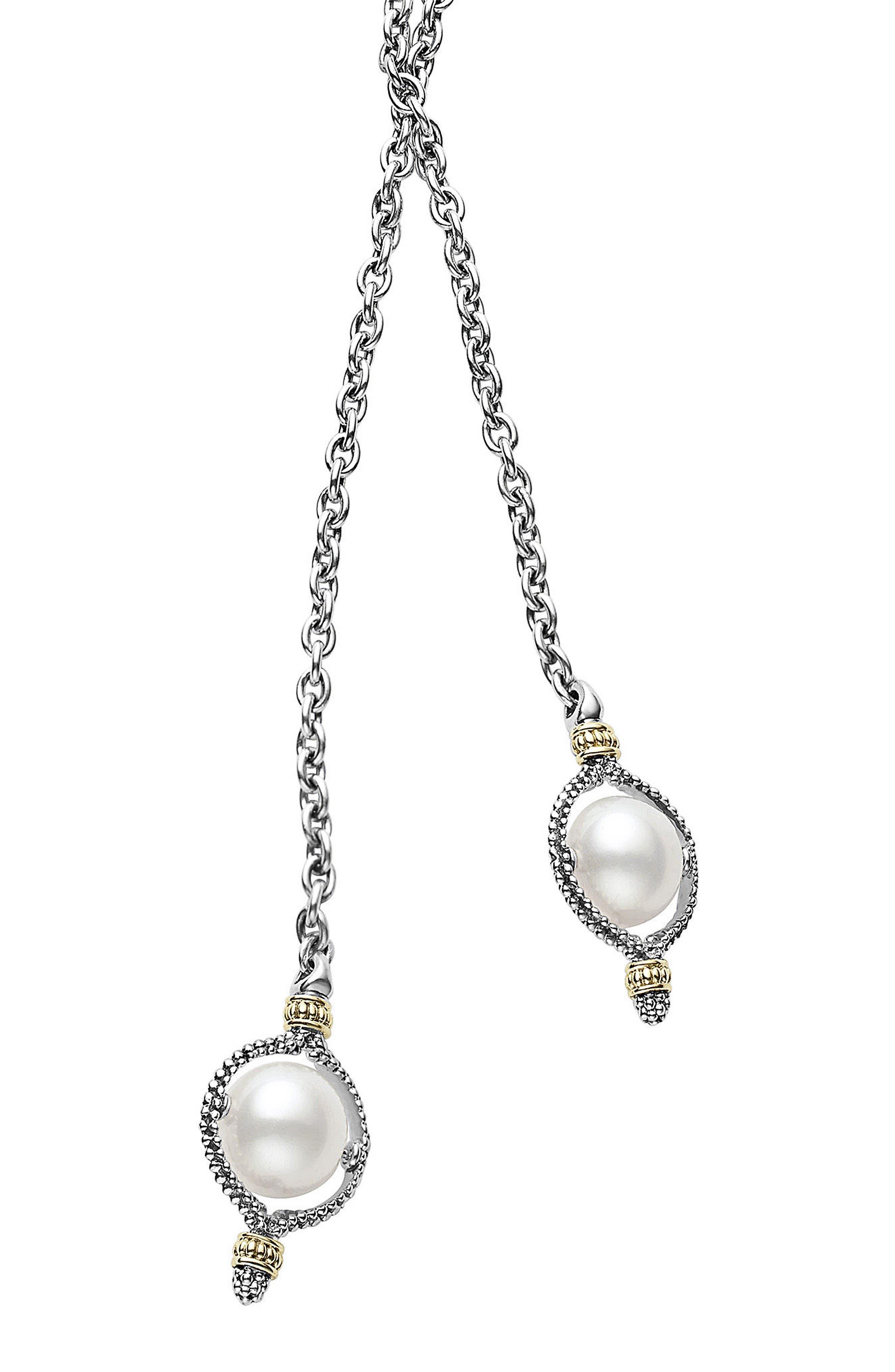 Luna Pearl Lariat Necklace,                         Main,                         color, Silver/ Pearl