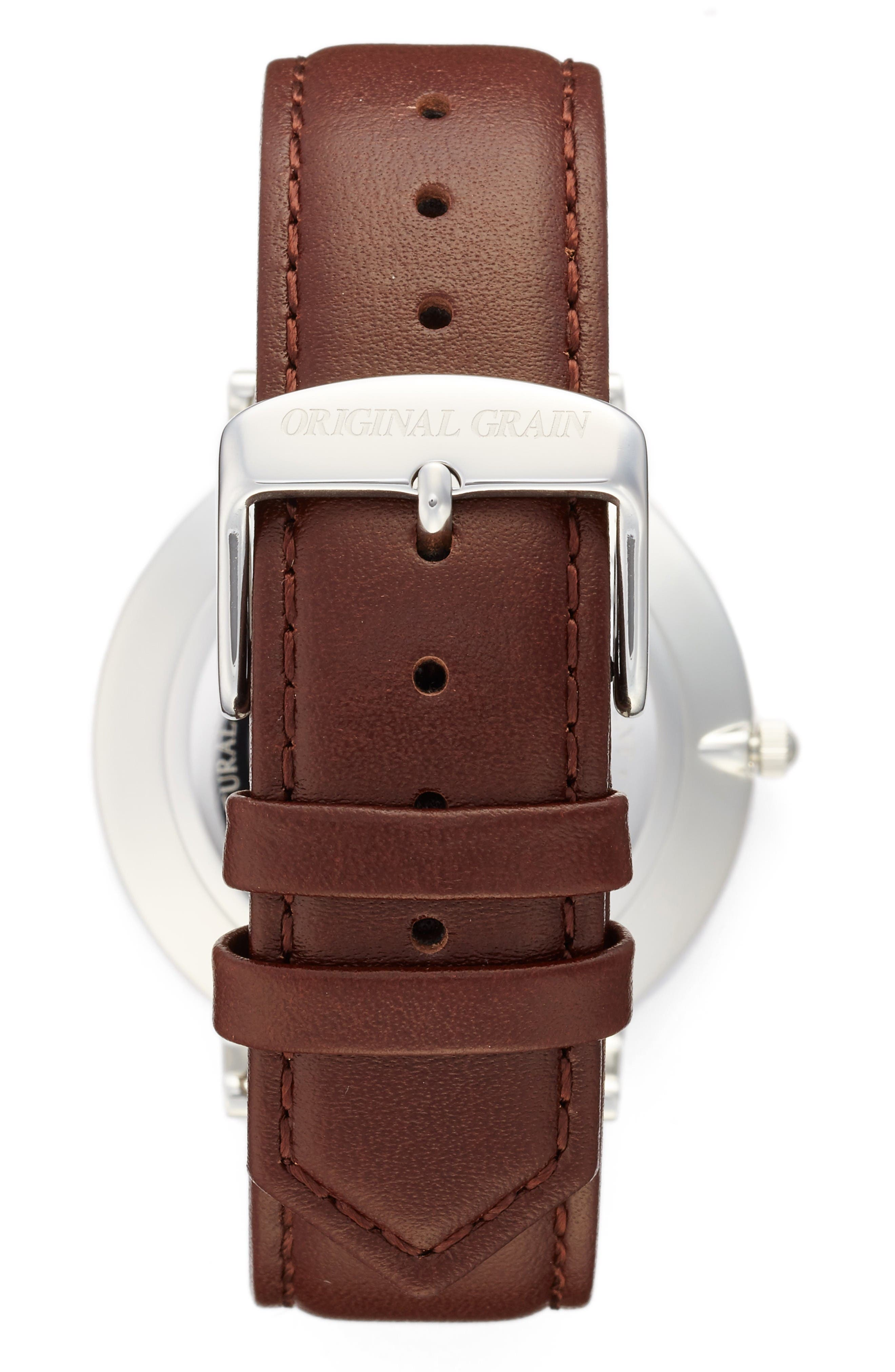 Minimalist Leather Strap Watch, 40mm,                             Alternate thumbnail 2, color,                             White/ Brown