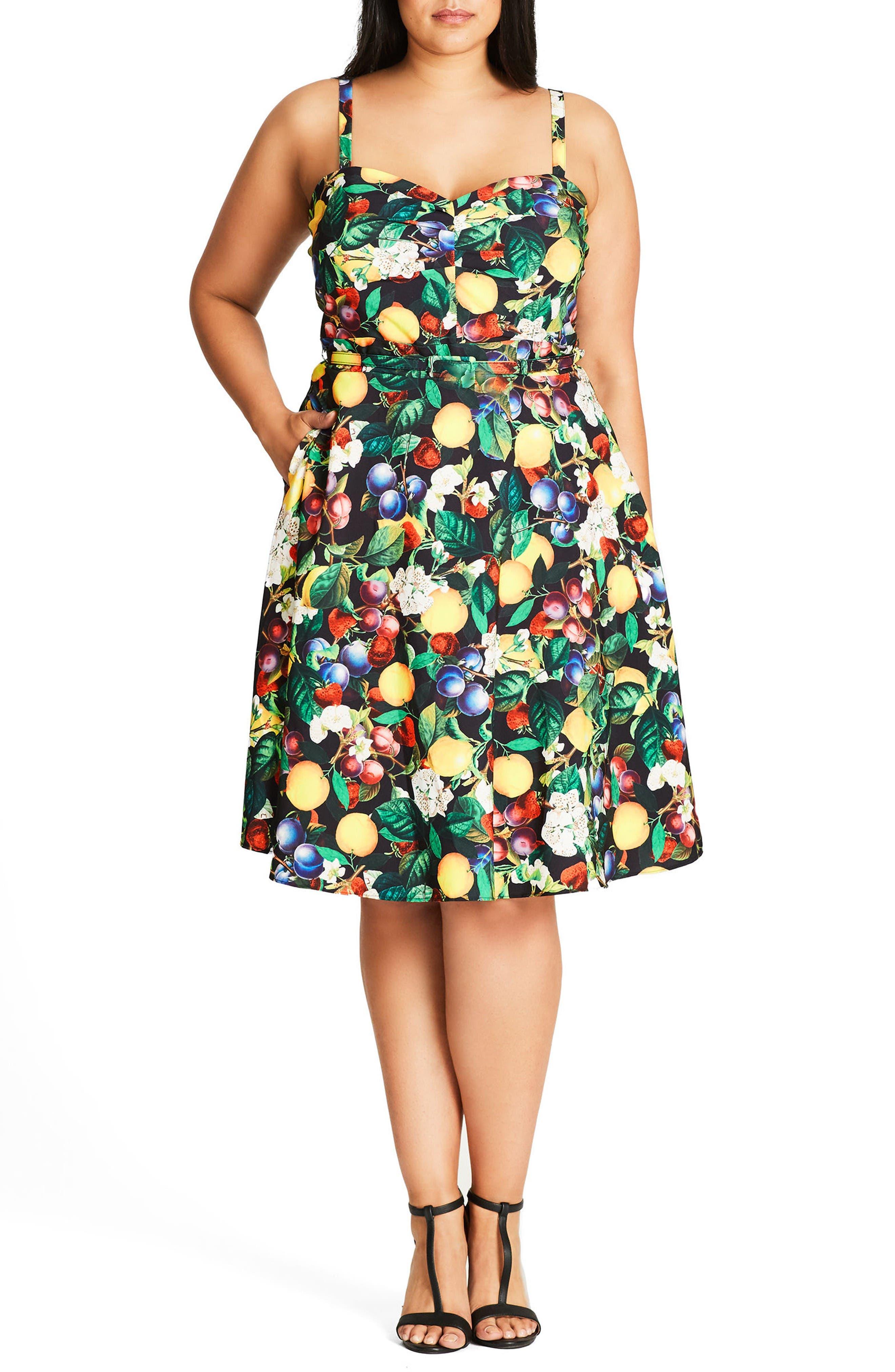 Main Image - City Chic Fruit Salad Fit & Flare Sundress (Plus Size)