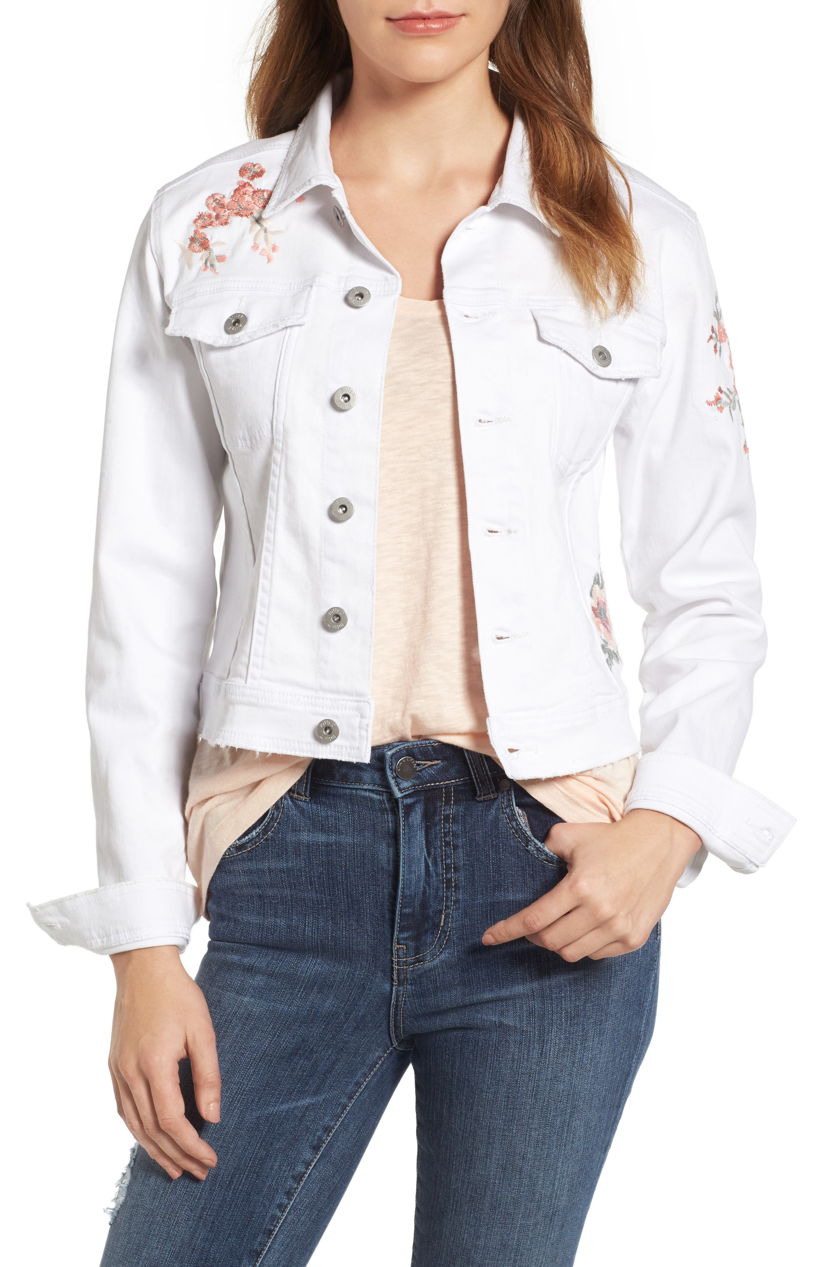 Main Image - BILLY T Embroidered White Denim Jacket
