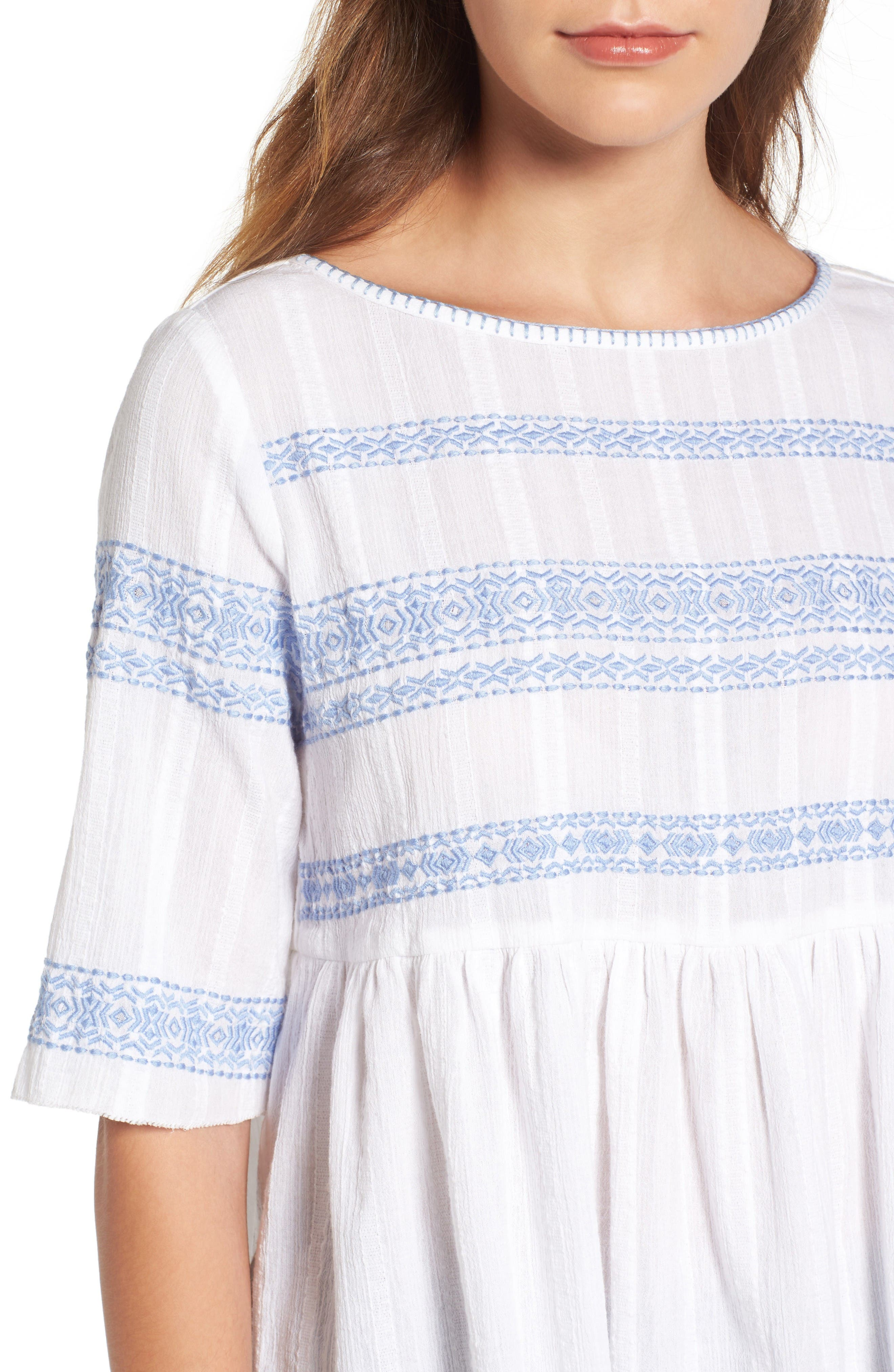 Alternate Image 4  - Caslon® Embroidered Babydoll Top (Regular & Petite)