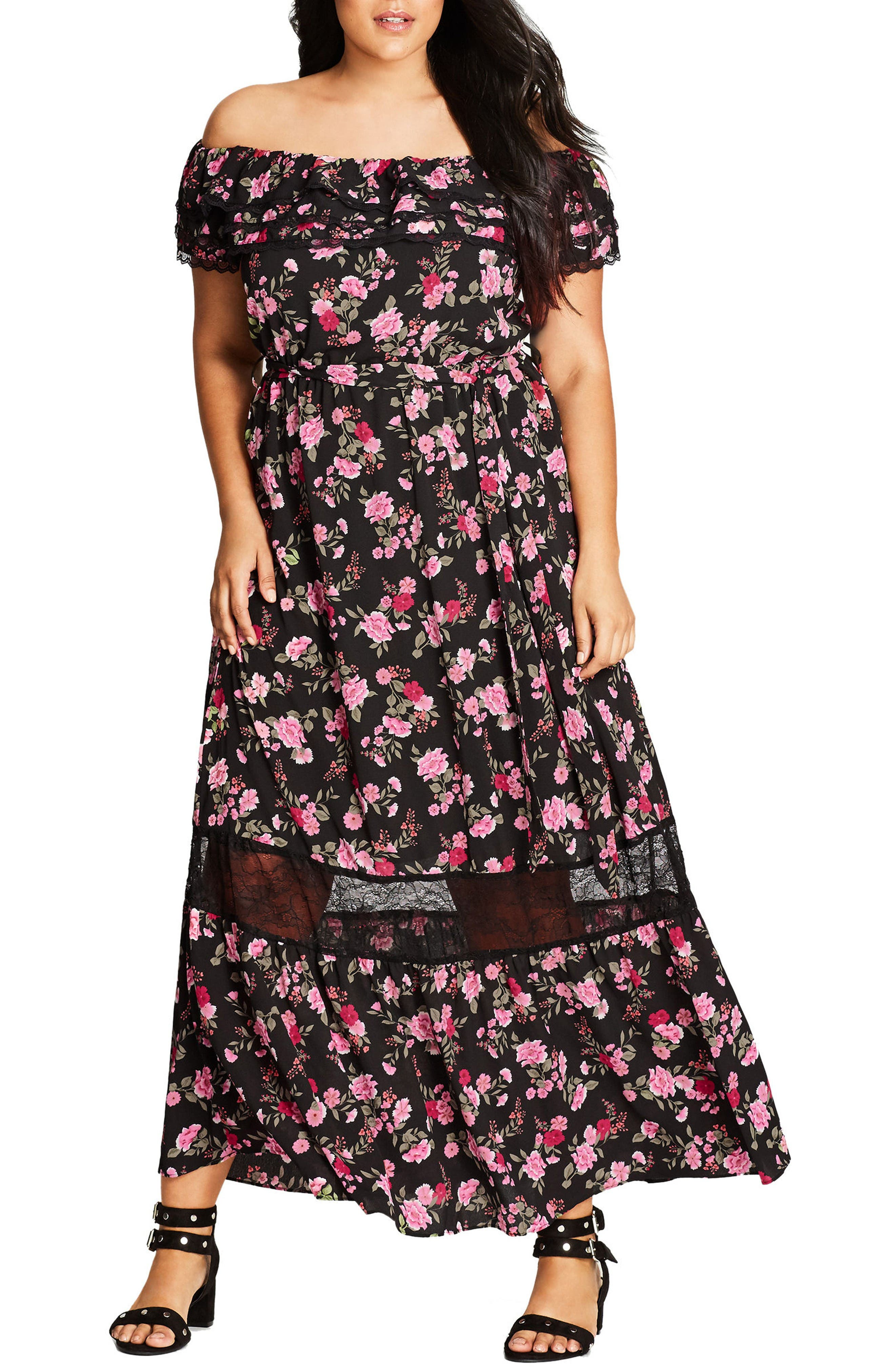 Alternate Image 1 Selected - City Chic Free Love Floral Off the Shoulder Maxi Dress (Plus Size)