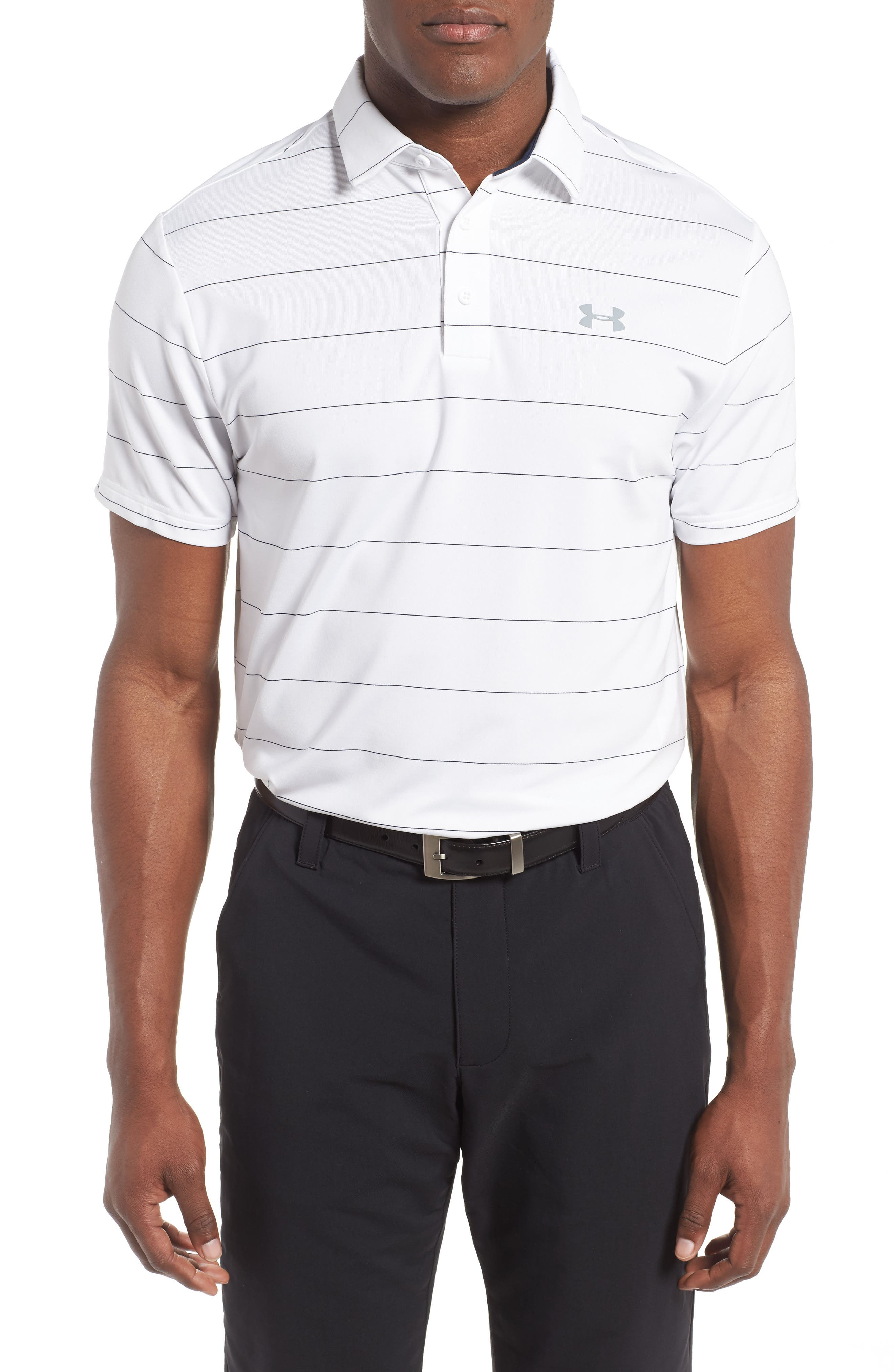 'Playoff' Loose Fit Short Sleeve Polo,                         Main,                         color, White/ Academy/ Steel
