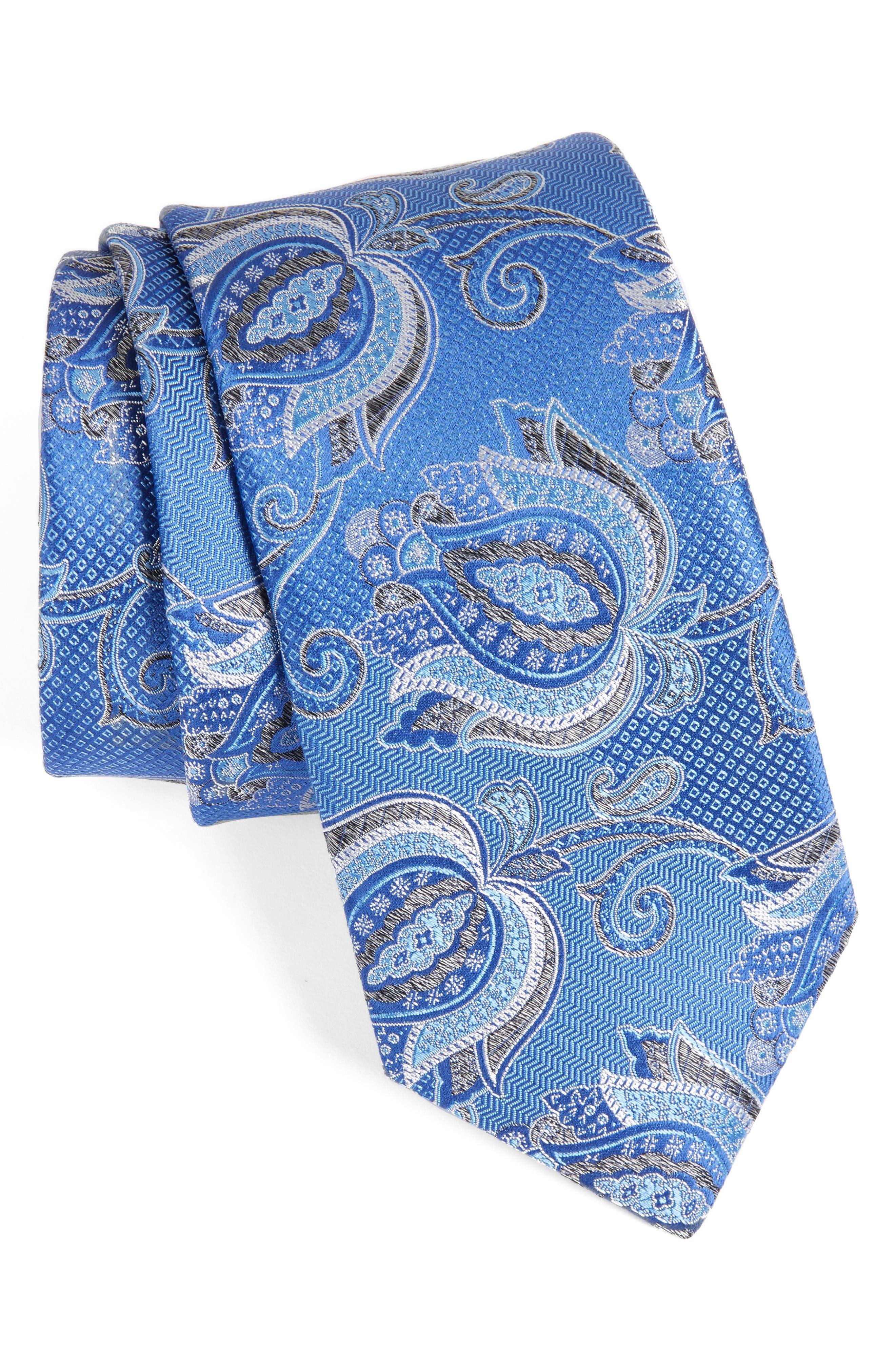 Paisley Silk Tie,                         Main,                         color, Royal
