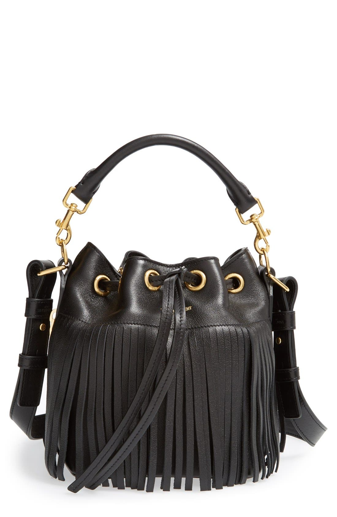 Main Image - Saint Laurent Fringe Calfskin Bucket Bag