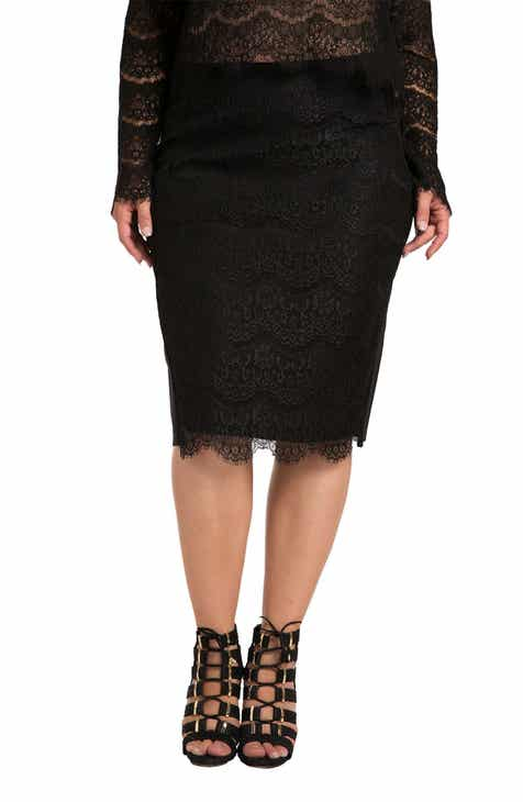 0812a630a57fb0 Standards & Practices Tori Lace Overlay Pencil Skirt (Plus Size)