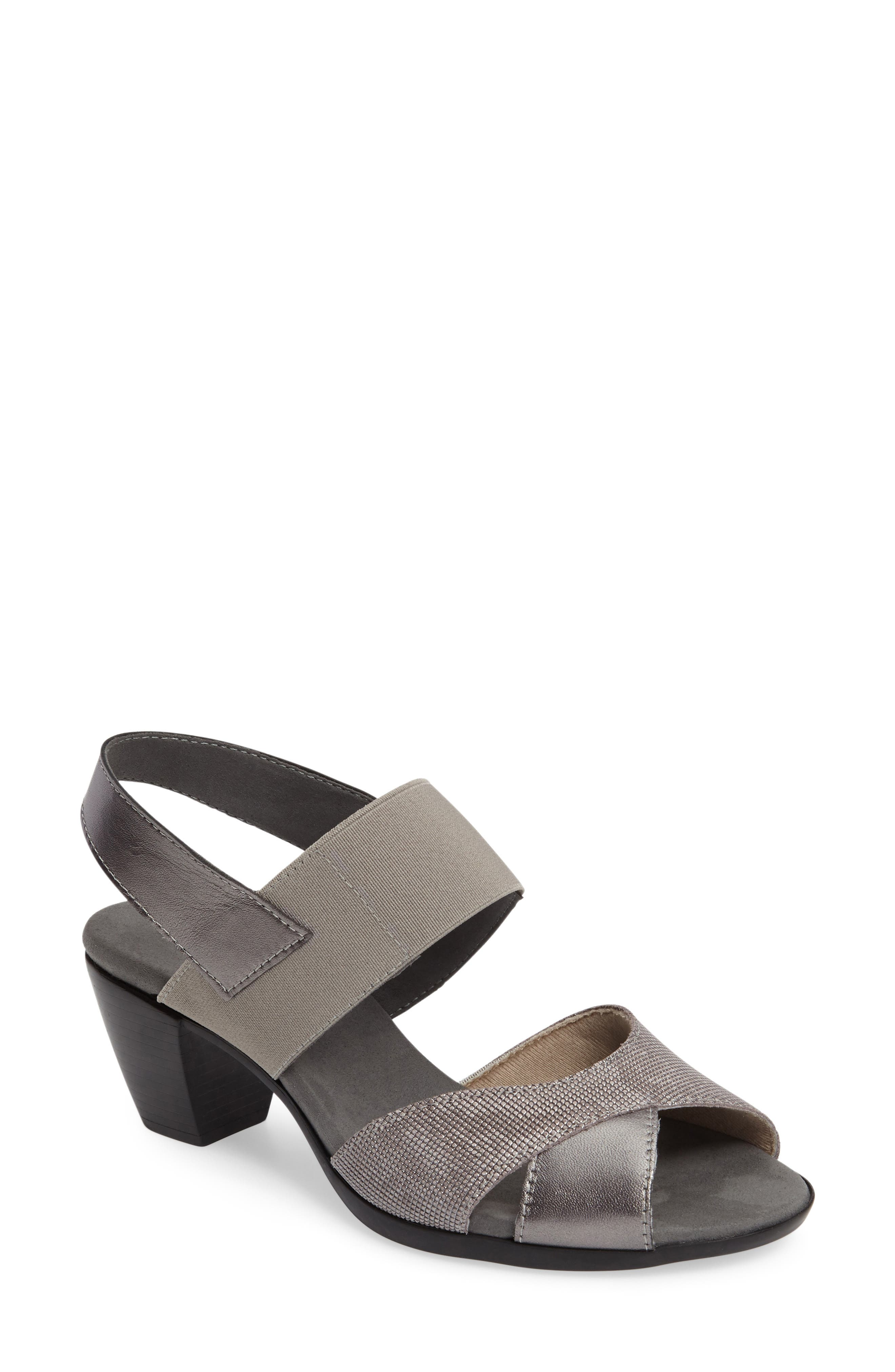 Darling Mixed Finish Slingback Sandal,                             Main thumbnail 1, color,                             Pewter Leather