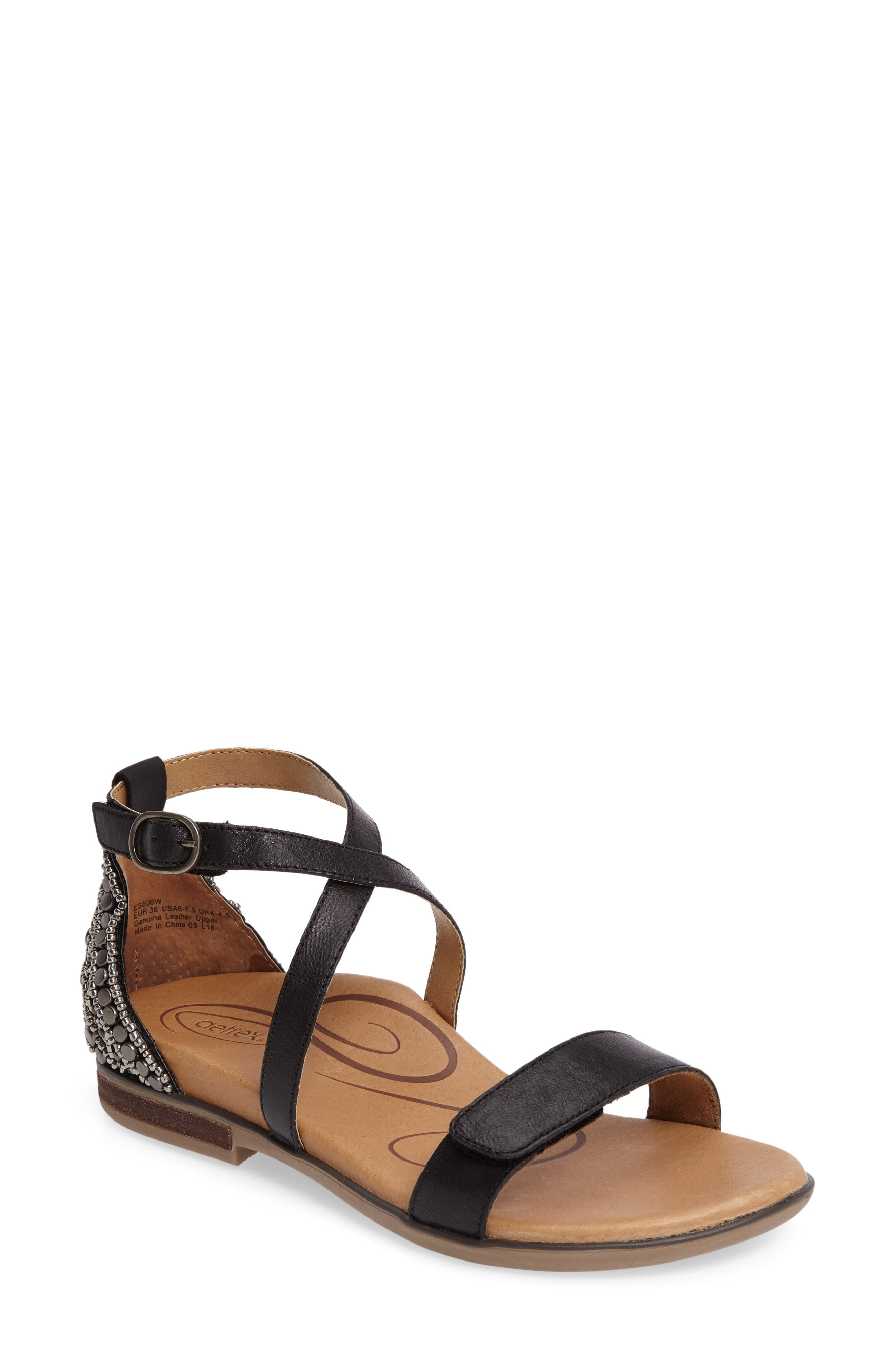 Aetrex Brenda Embellished Cross Strap Sandal (Women)