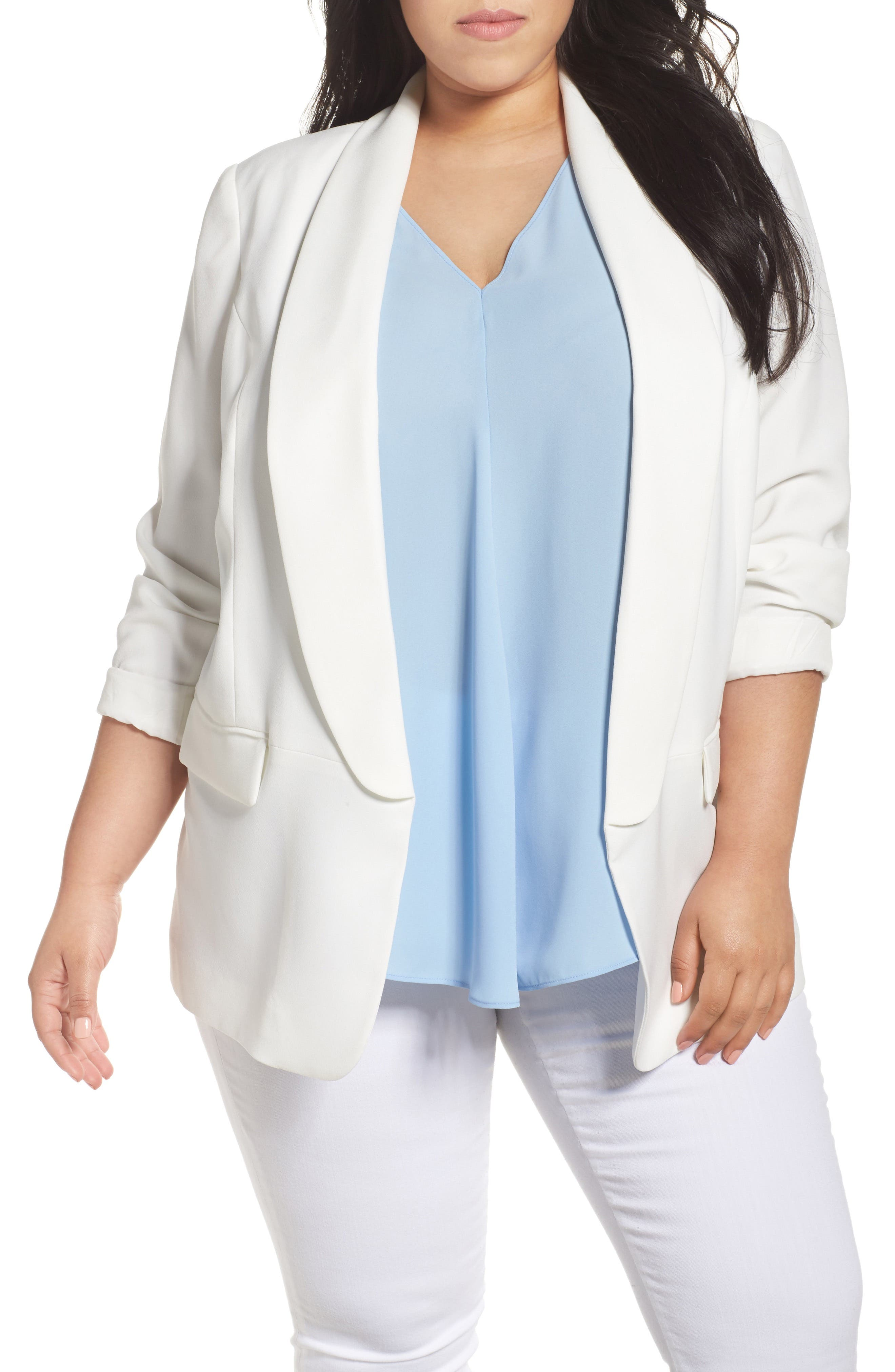 Open Front Blazer,                             Main thumbnail 1, color,                             New Ivory