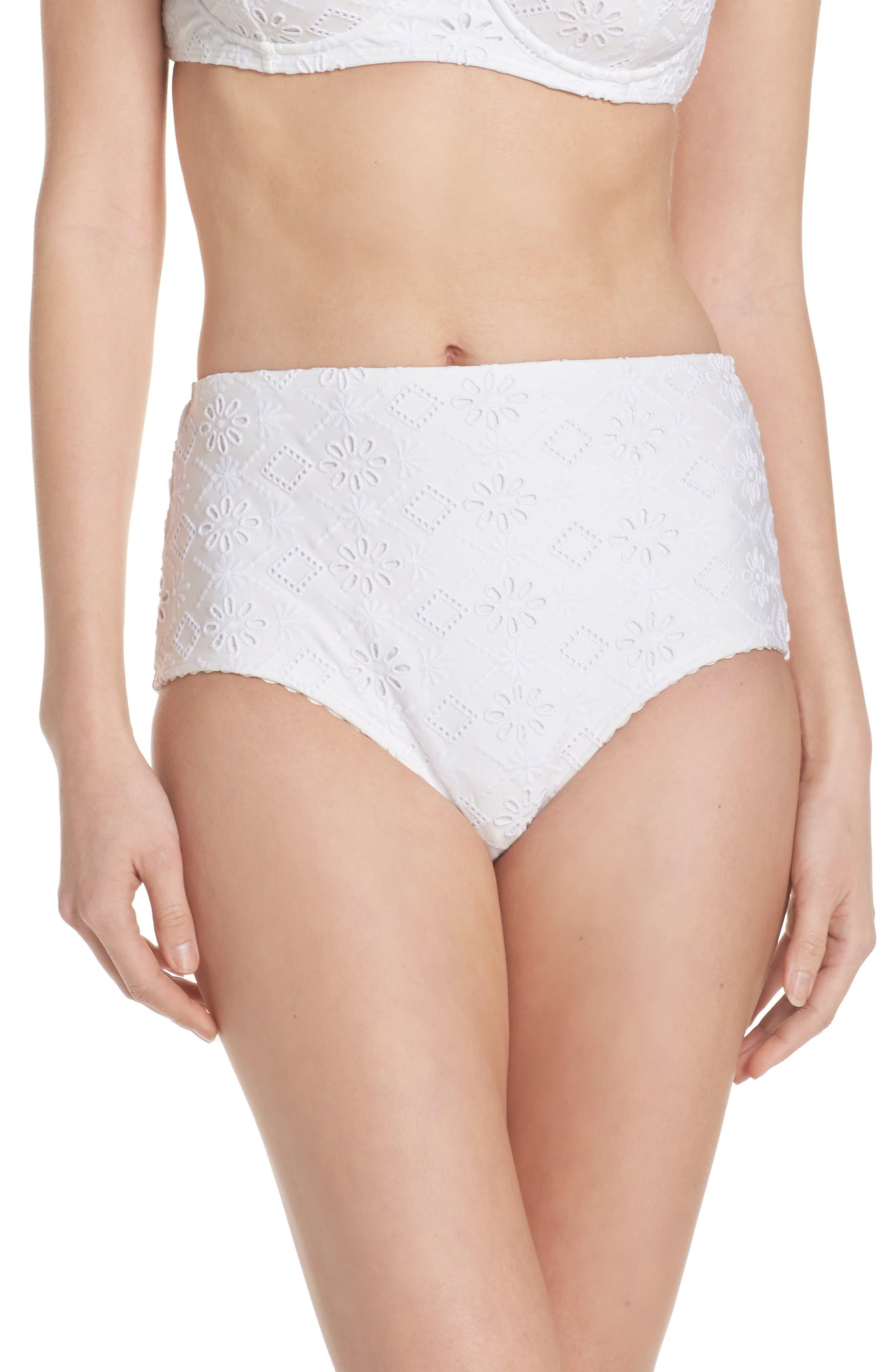 kate spade new york half moon bay high waist bikini bottoms