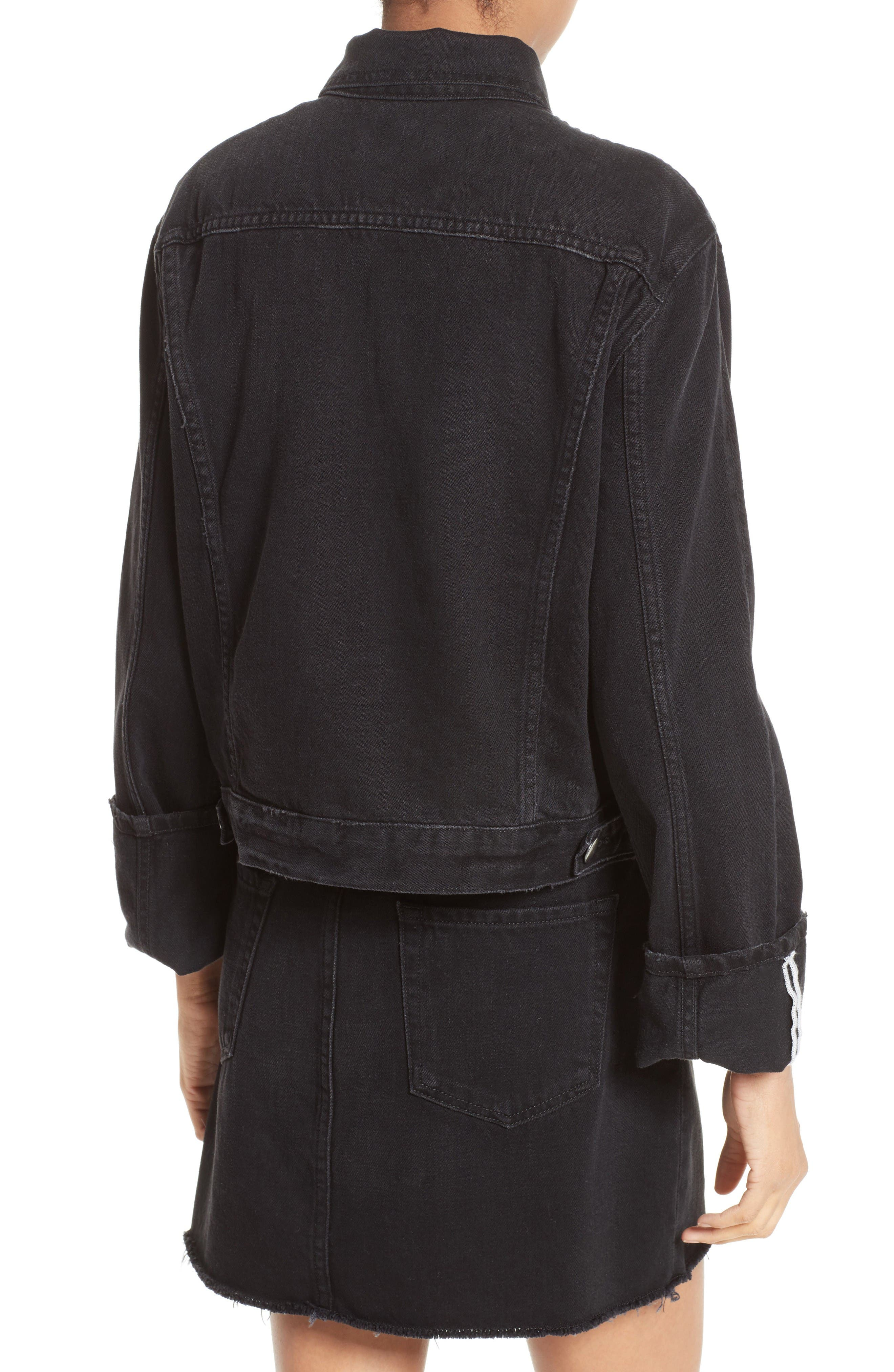 Le Cuffed Denim Jacket,                             Alternate thumbnail 3, color,                             Black Knight
