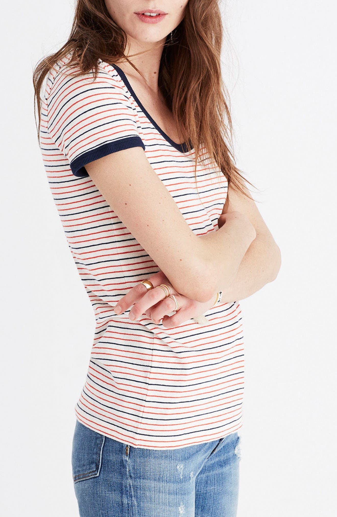 Alternate Image 3  - Madewell Stripe Recycled Cotton Ringer Tee