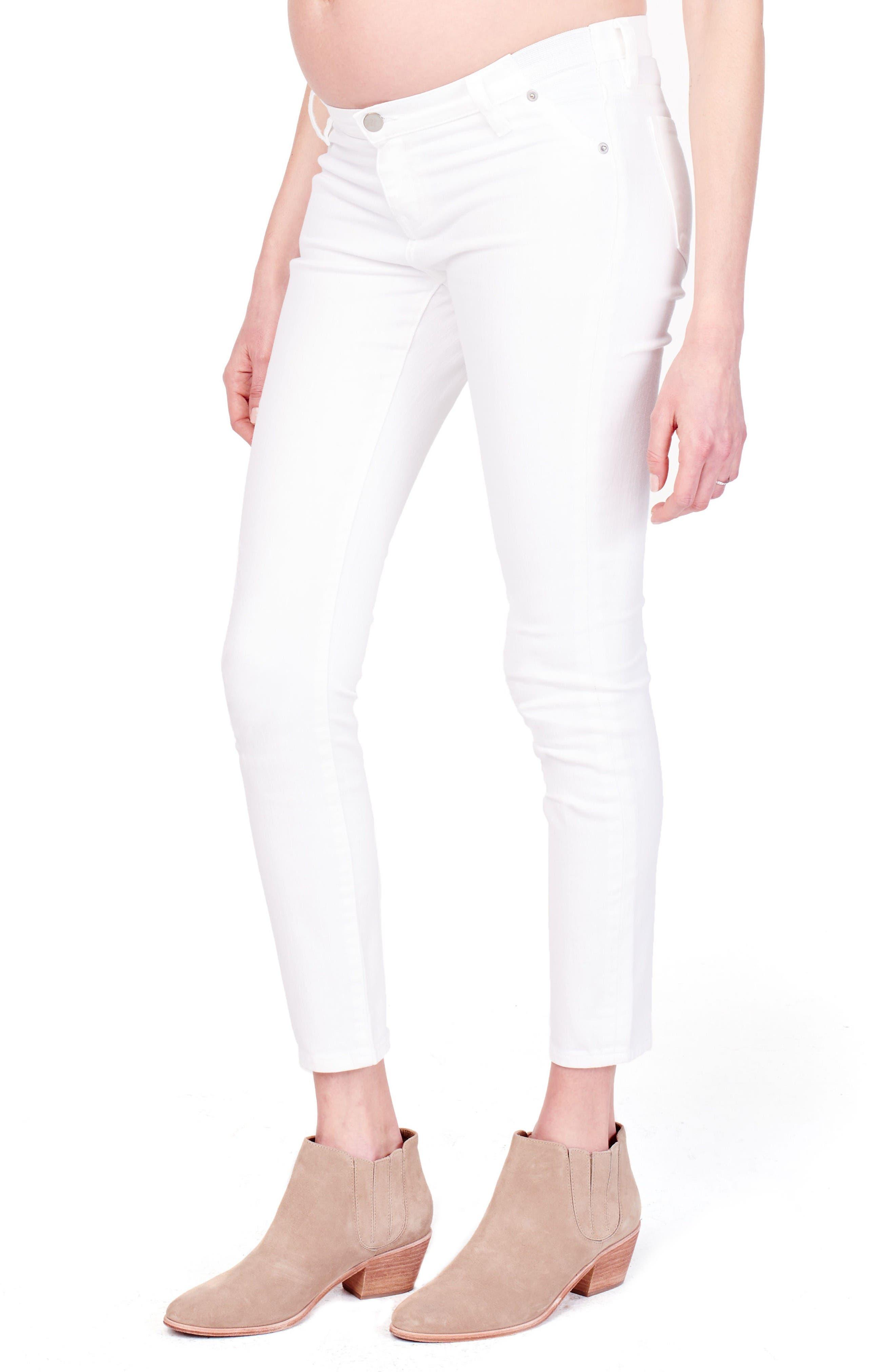 Sasha Maternity Skinny Jeans,                             Alternate thumbnail 3, color,                             White