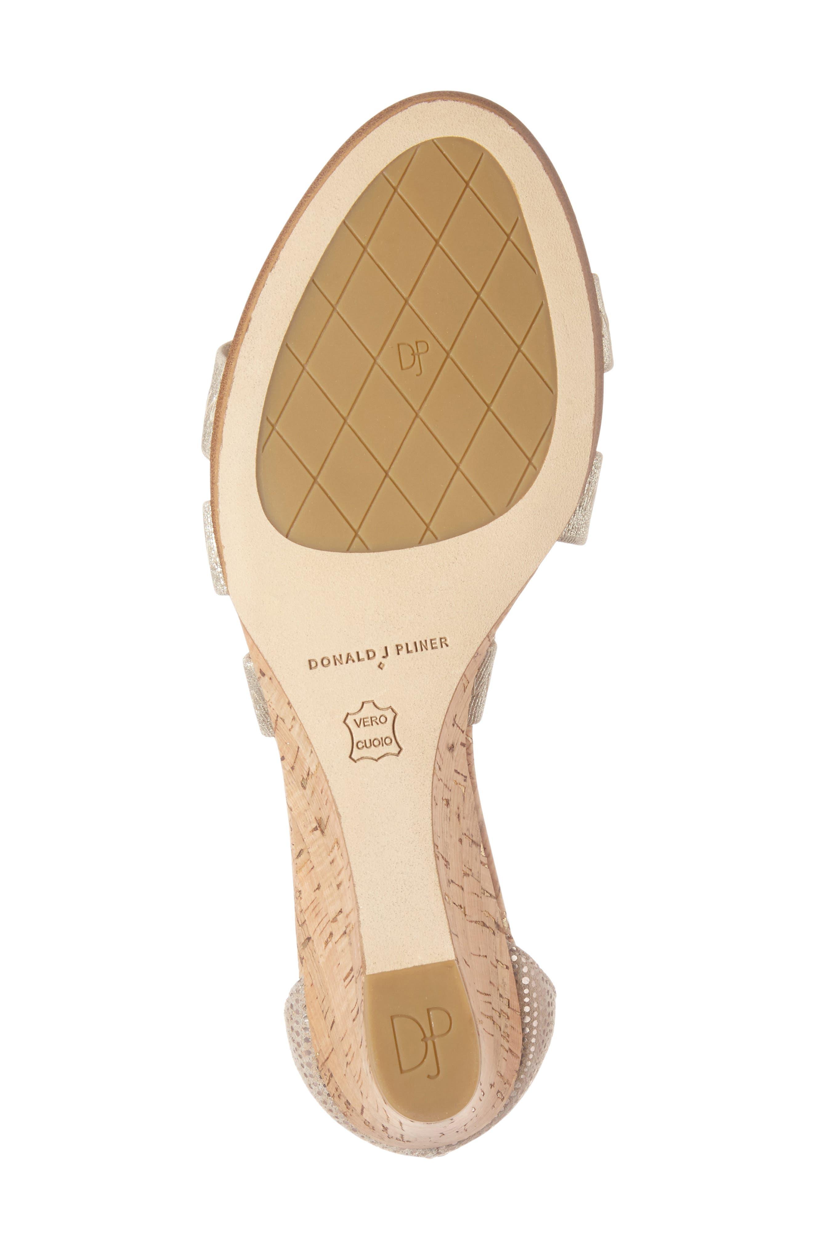 Donald J Pliner Jemi Wedge Sandal,                             Alternate thumbnail 6, color,                             Platino Leather