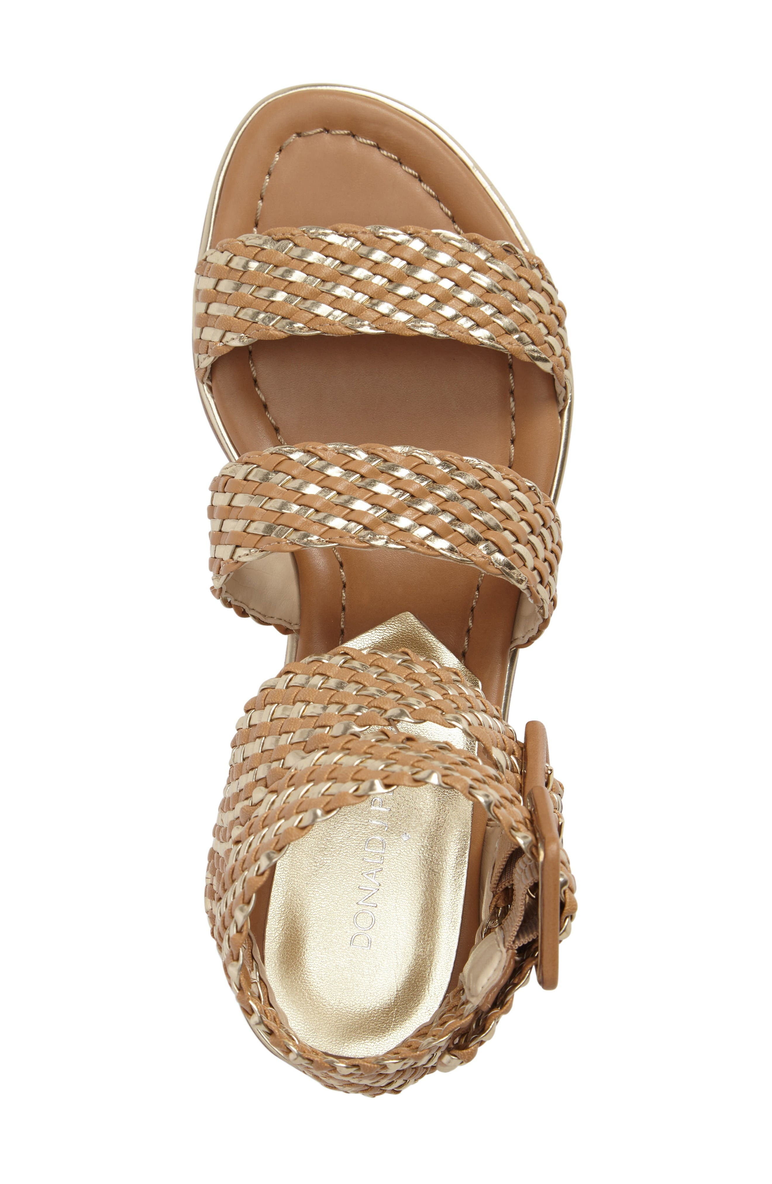 Donald J Pliner Lucia Braided Sandal,                             Alternate thumbnail 5, color,                             Sand/ Platino Faux Leather