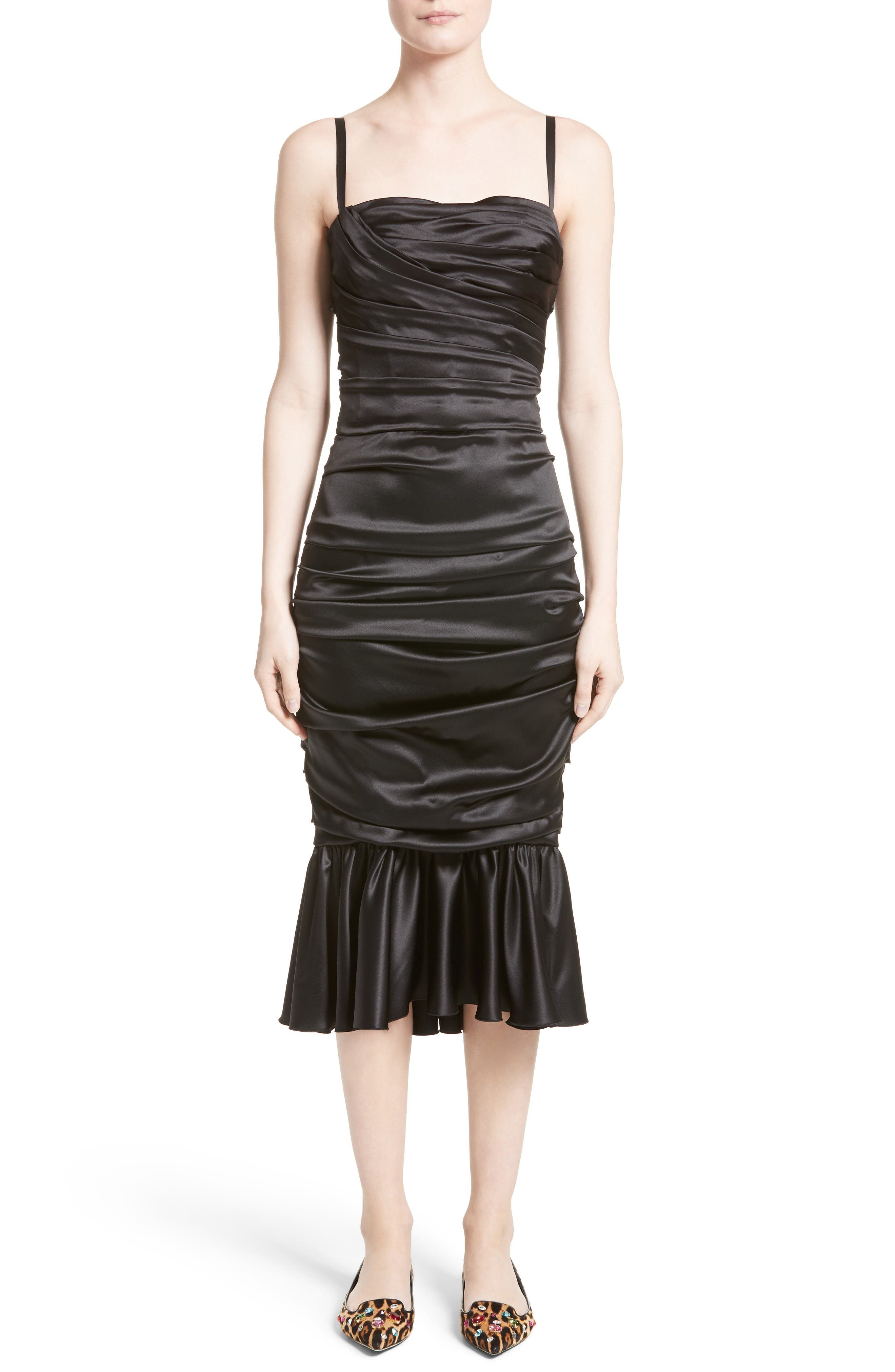Ruched Stretch Satin Dress,                         Main,                         color, Black