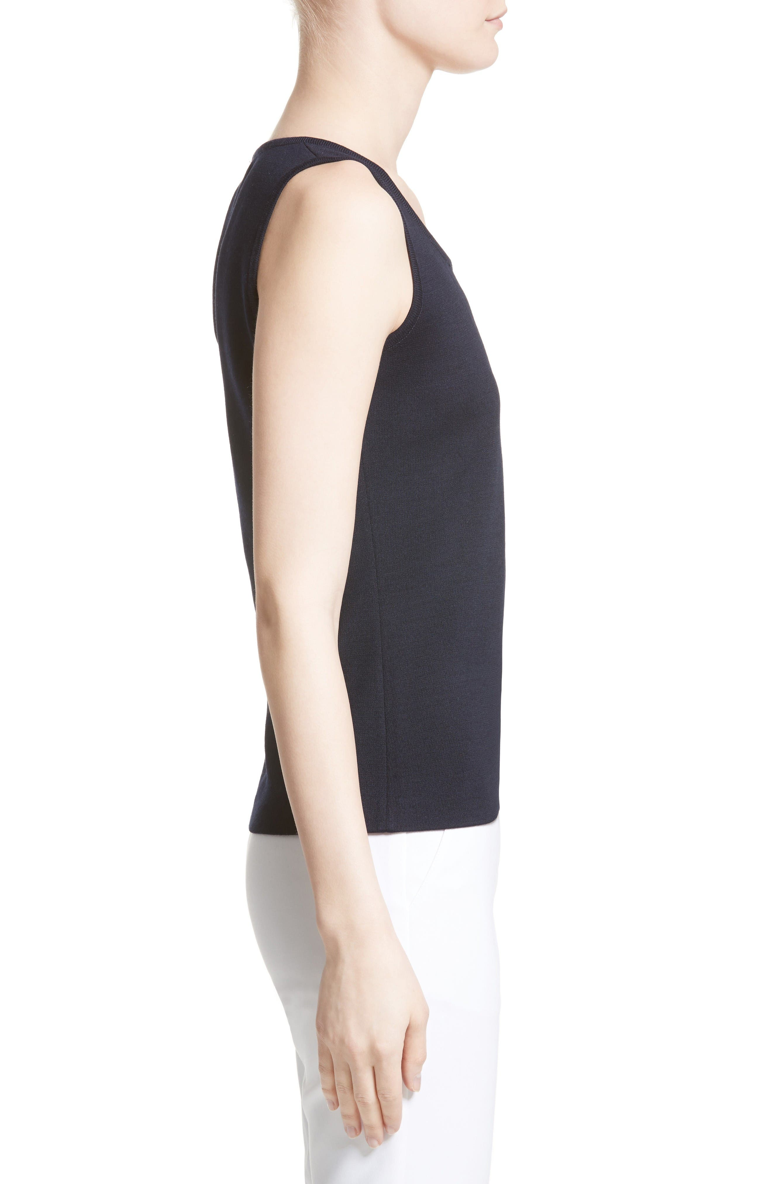 Milano Knit Contour Tank,                             Alternate thumbnail 5, color,                             Navy