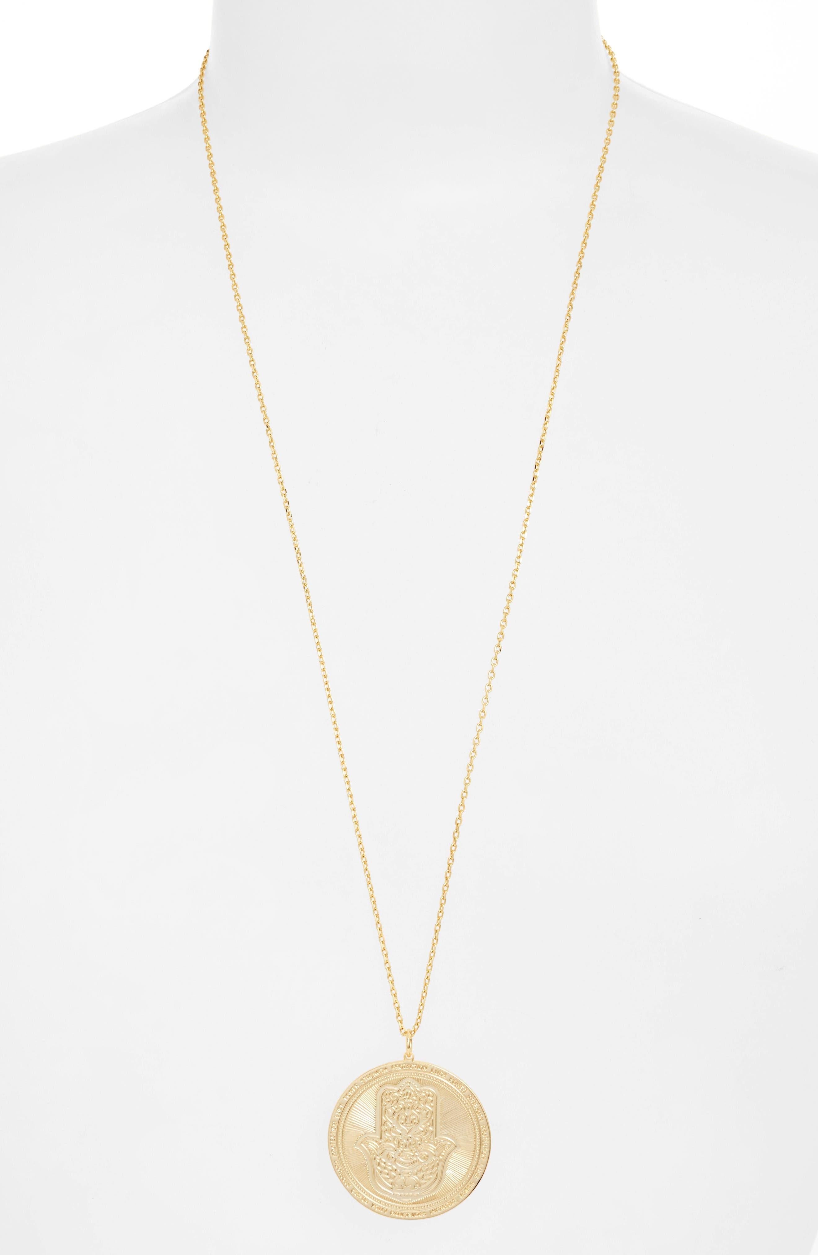 Hamsa Love Letters Pendant Necklace,                             Alternate thumbnail 3, color,                             Hamsa/ Gold