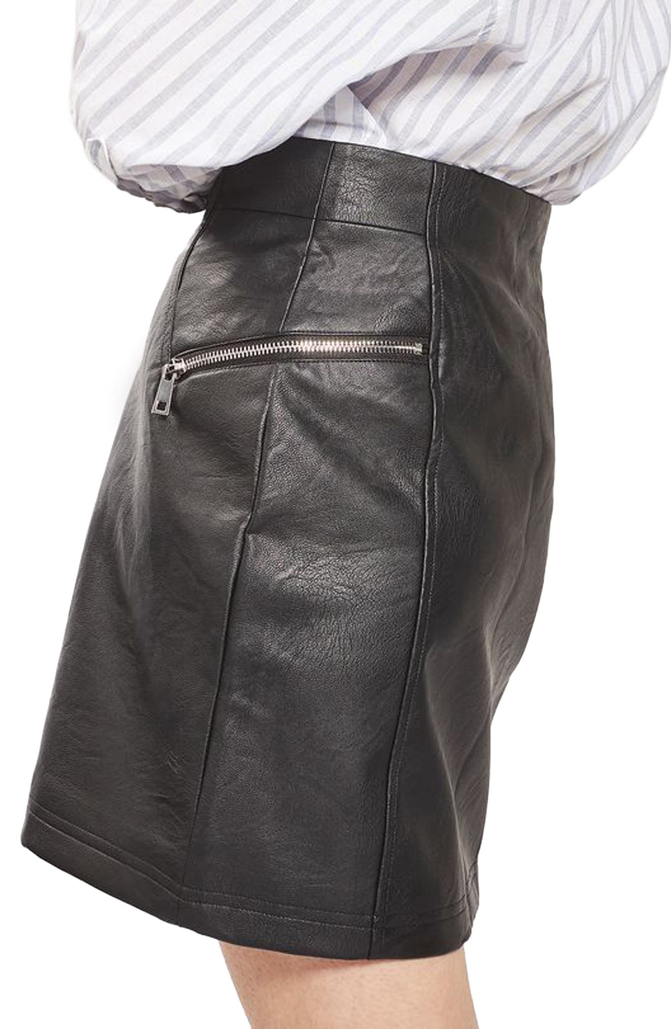 Alternate Image 4  - Topshop Zip Faux Leather Miniskirt