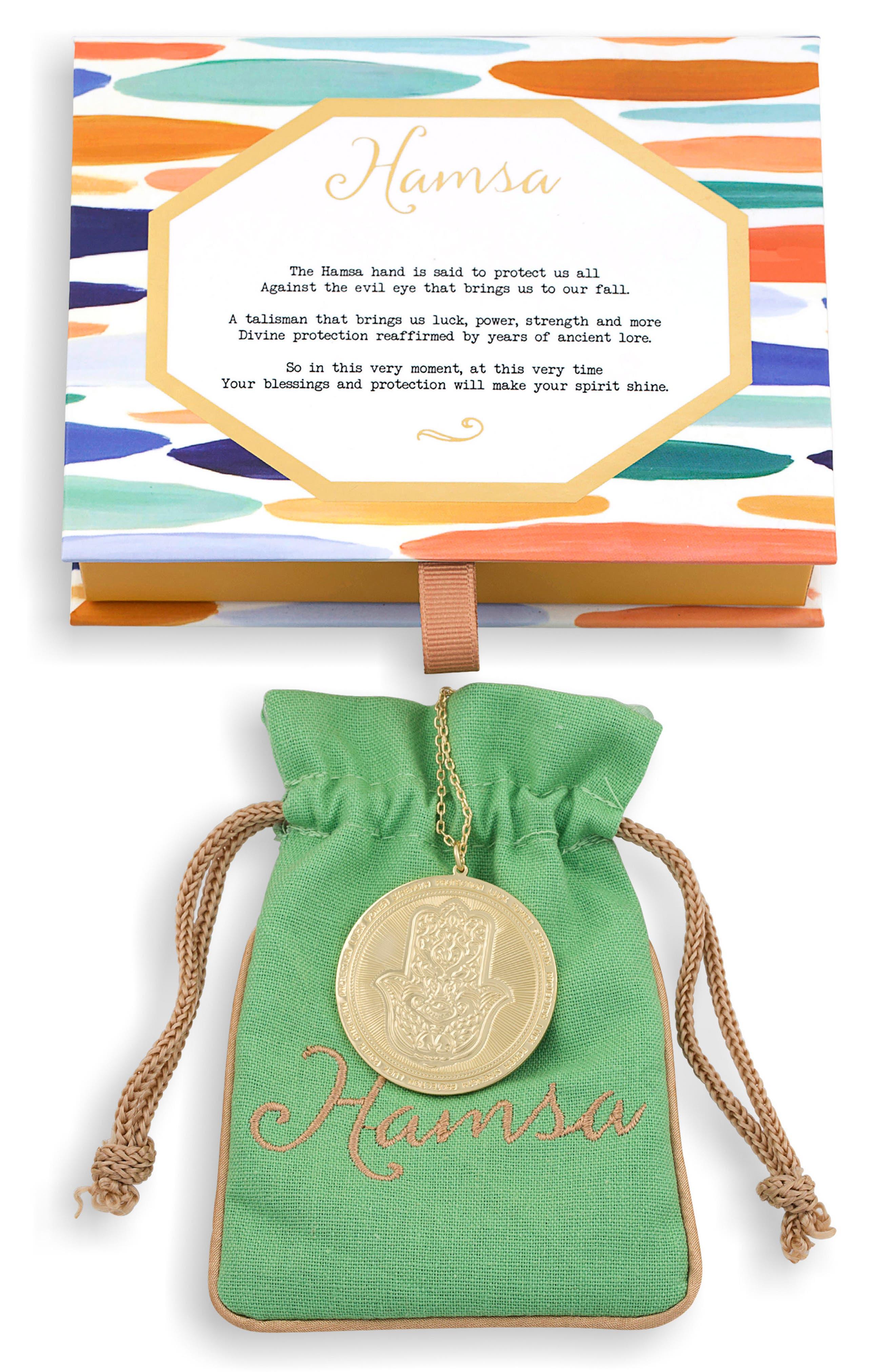 Hamsa Love Letters Pendant Necklace,                             Alternate thumbnail 2, color,                             Hamsa/ Gold