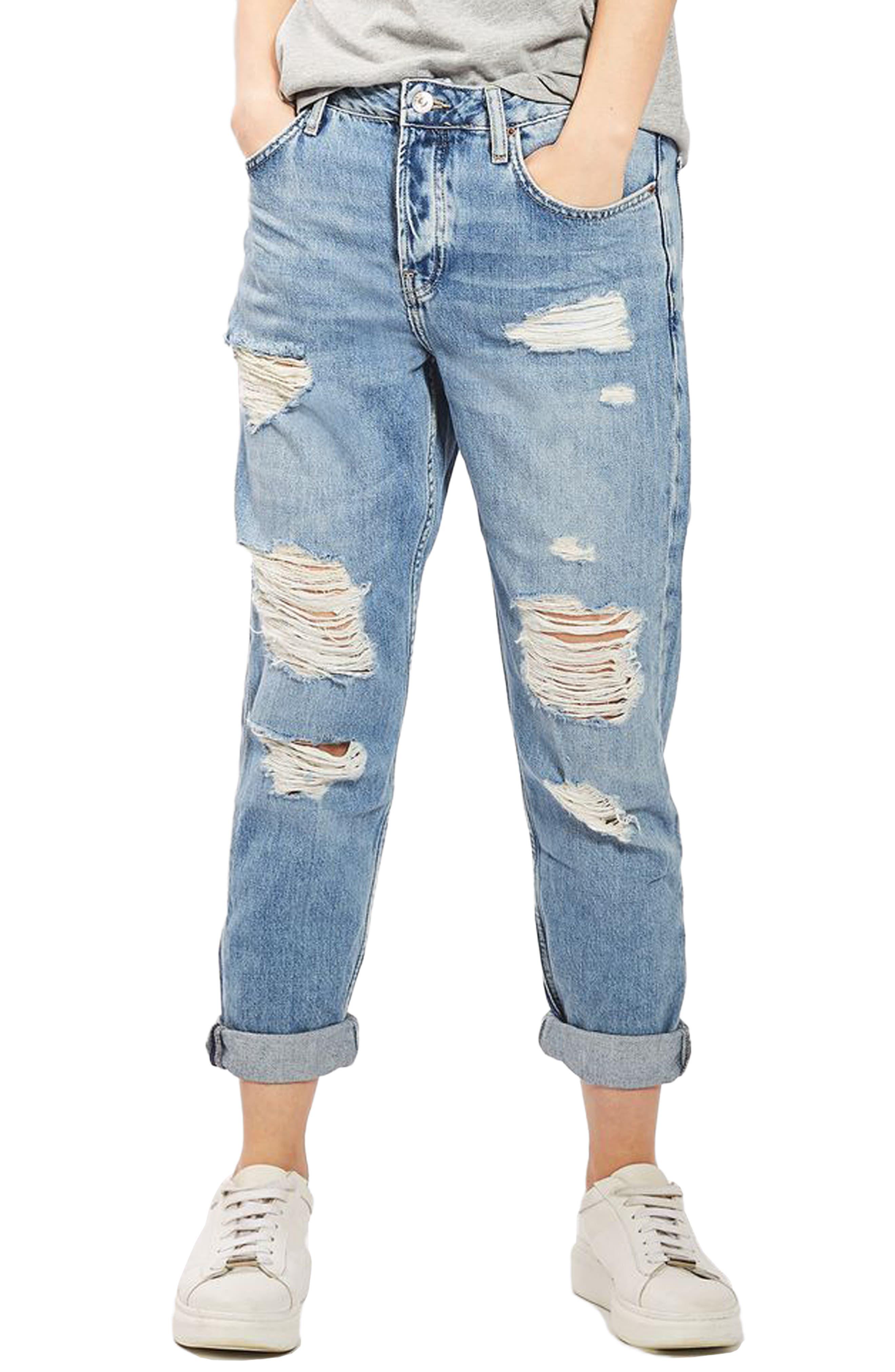 Hayden Super Ripped Boyfriend Jeans,                         Main,                         color, Light Denim
