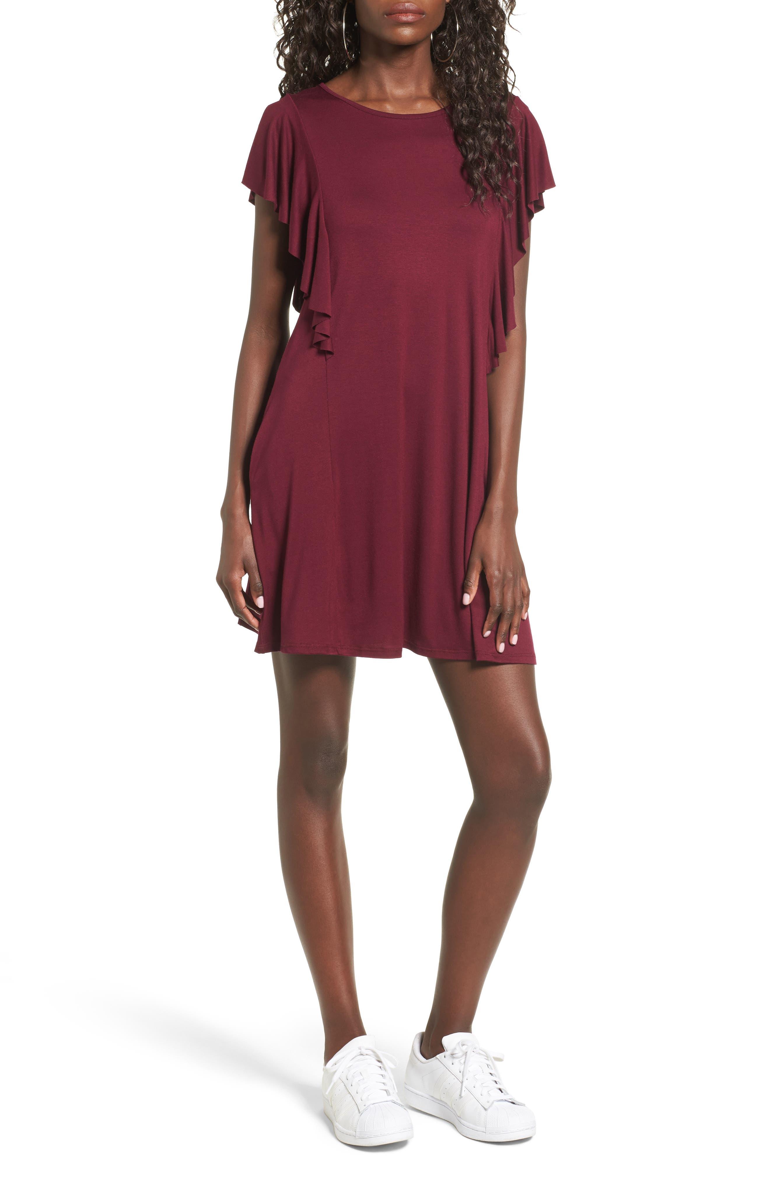 Alternate Image 1 Selected - Socialite Ruffle Sleeve T-Shirt Dress