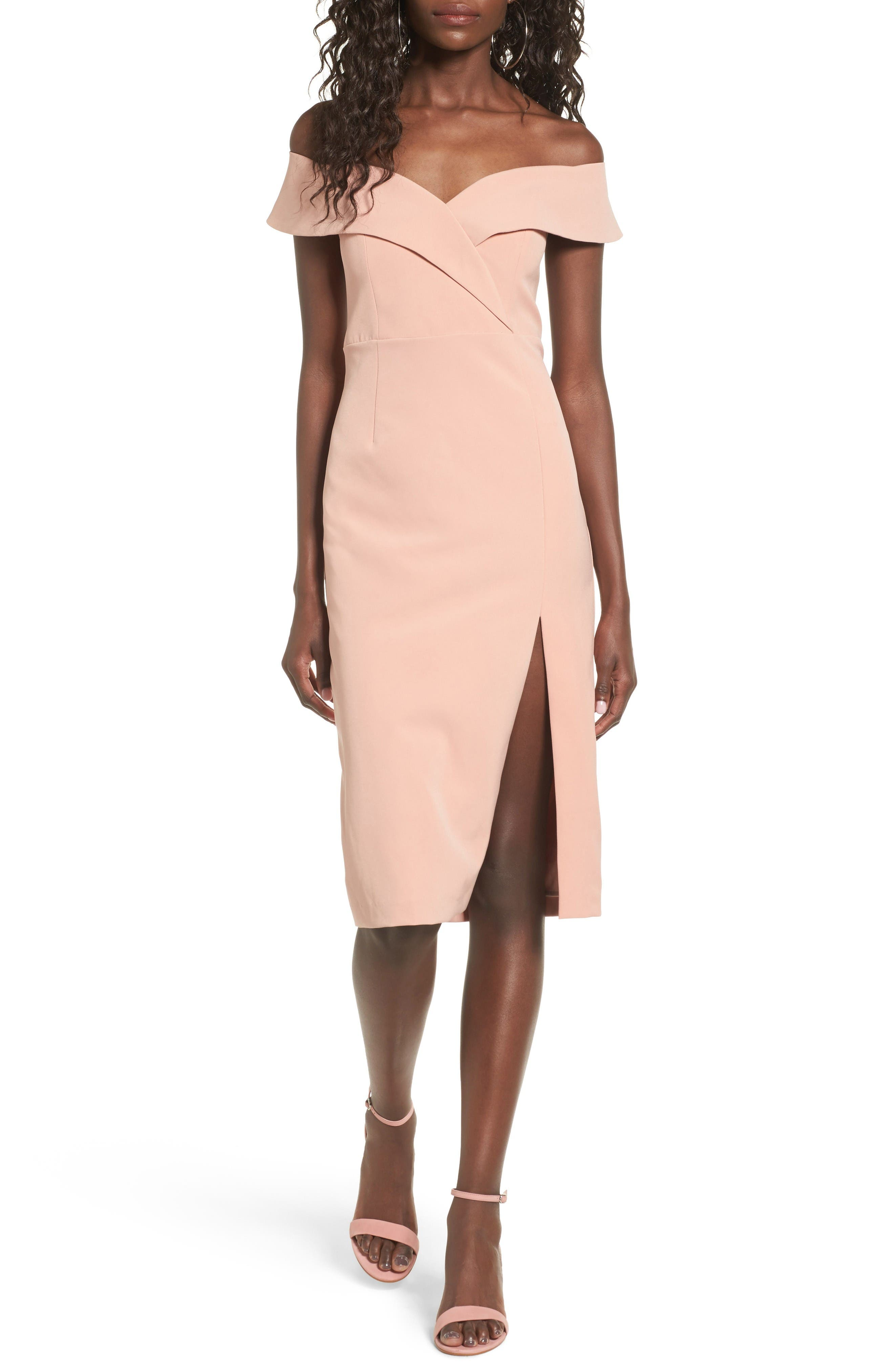 Bella Midi Dress,                             Main thumbnail 1, color,                             Peach