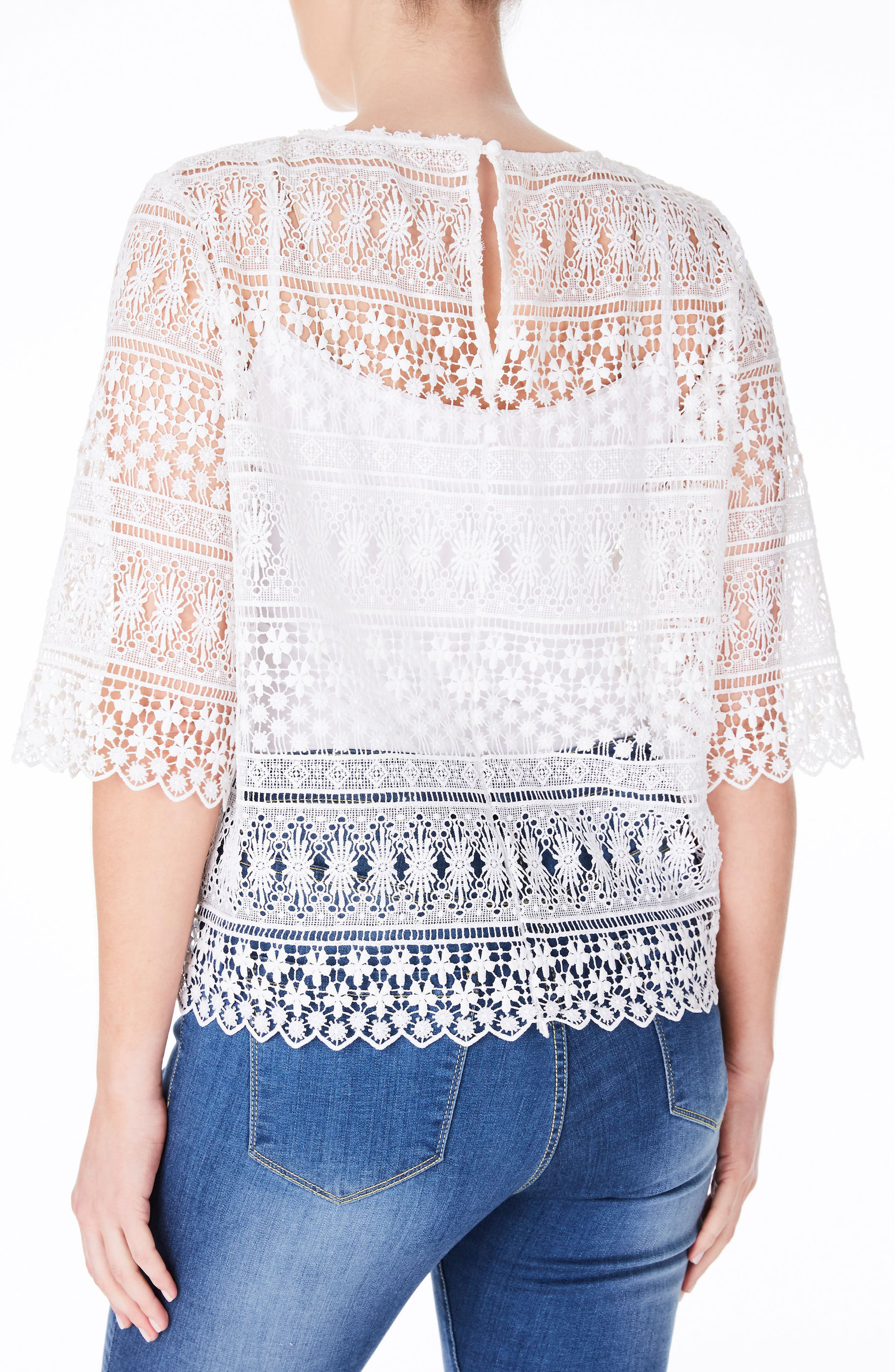 White Lace Top,                             Alternate thumbnail 2, color,                             White