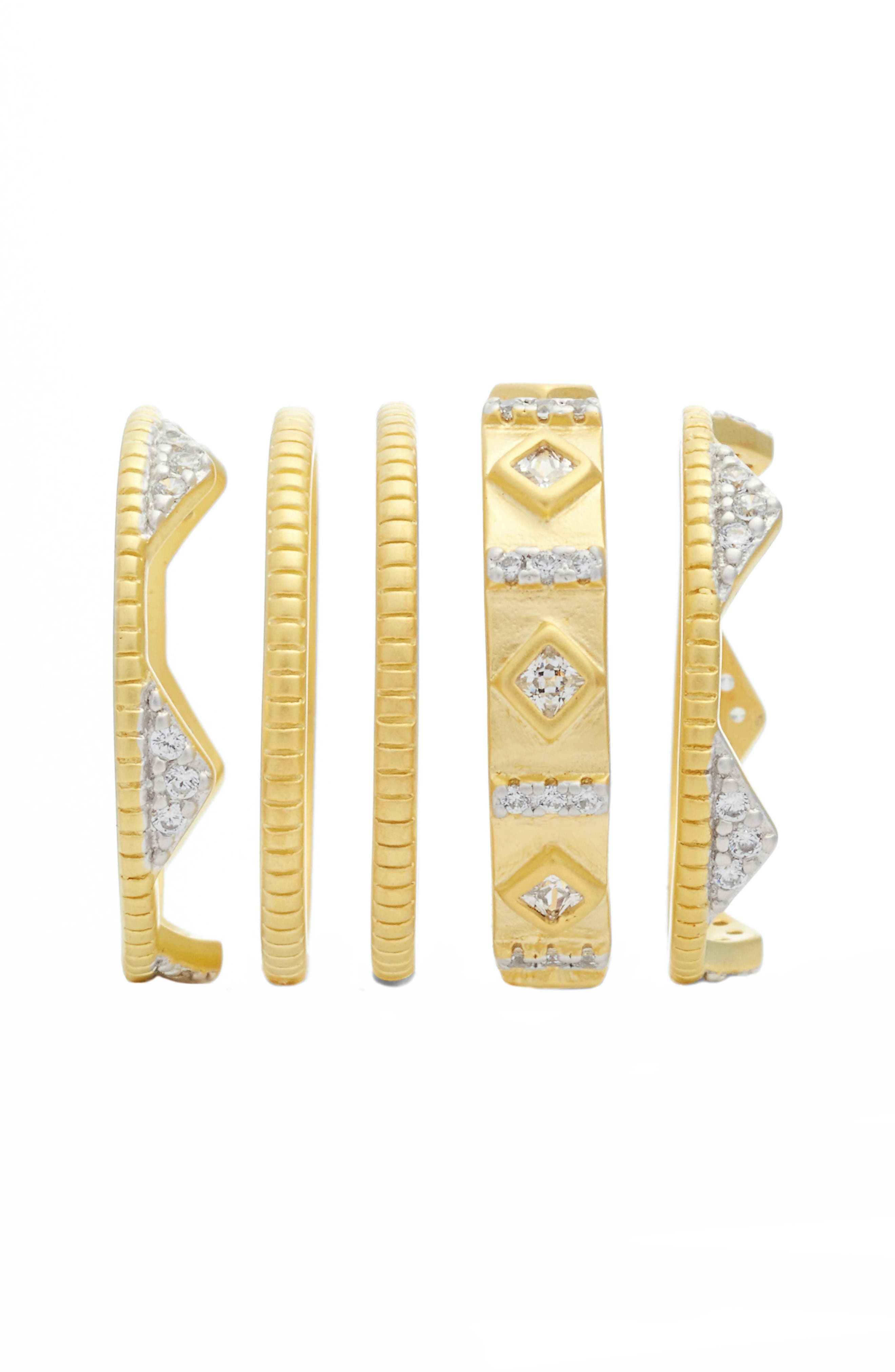 Visionary Fusion Set of 5 Stack Rings,                             Alternate thumbnail 2, color,                             Gold