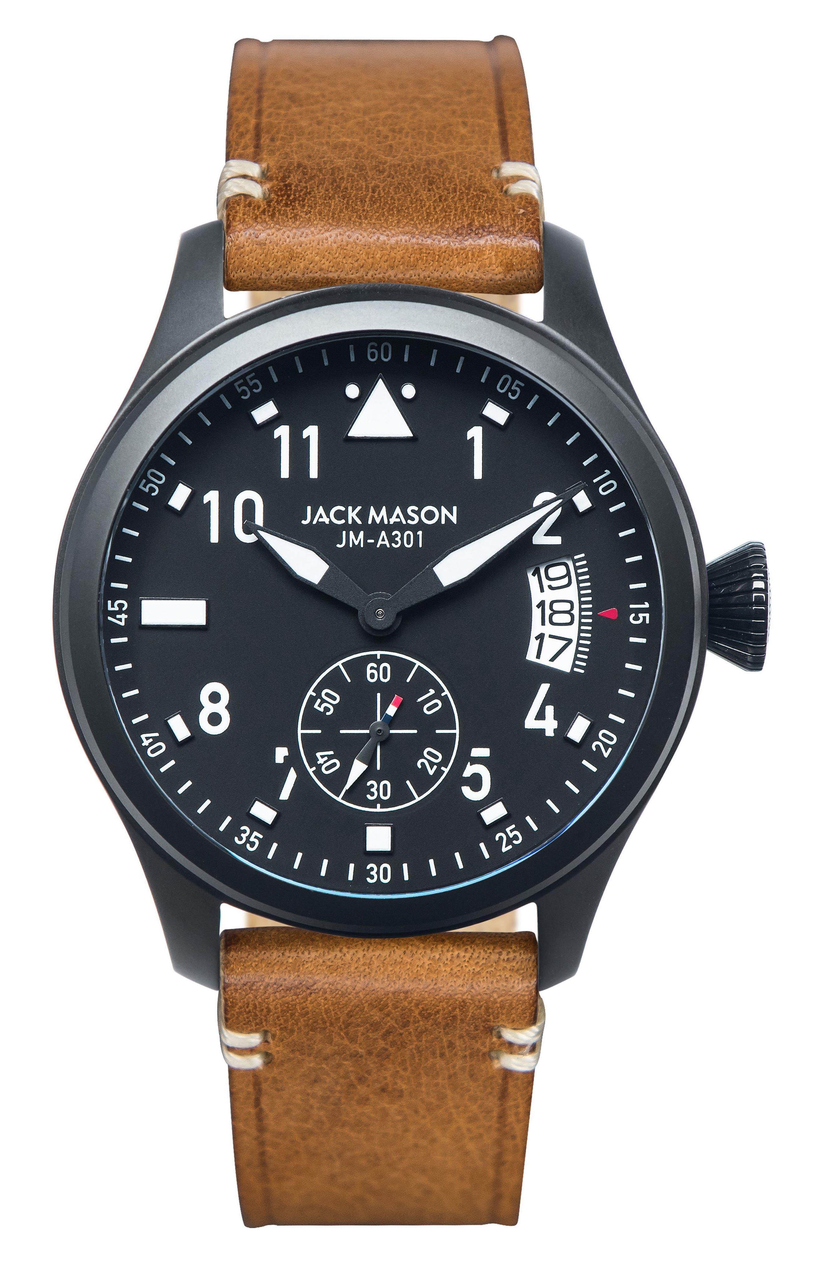 JACK MASON AVIATION LEATHER STRAP WATCH, 45MM