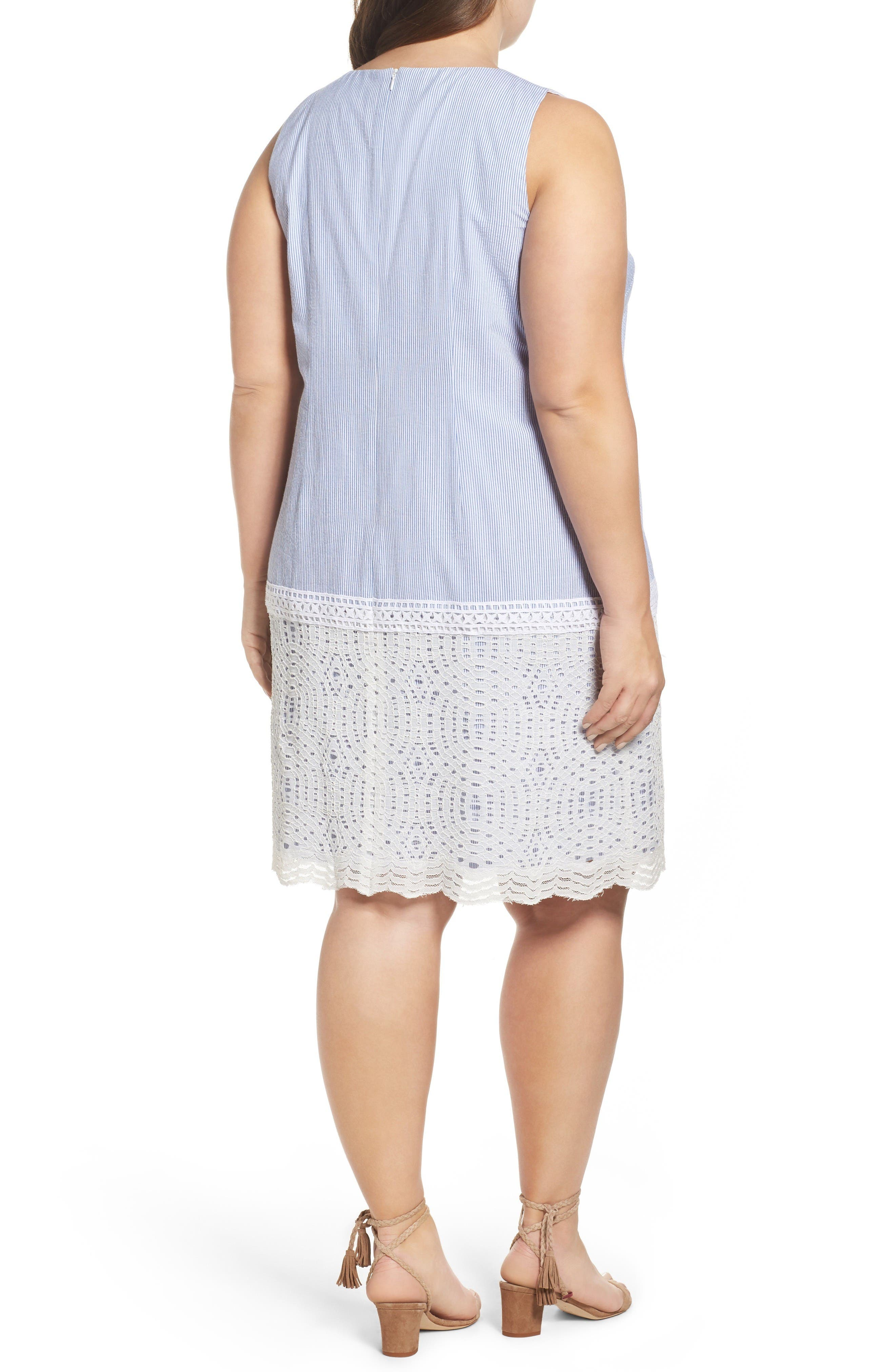 Lace Overlay Shift Dress,                             Alternate thumbnail 2, color,                             Blue White