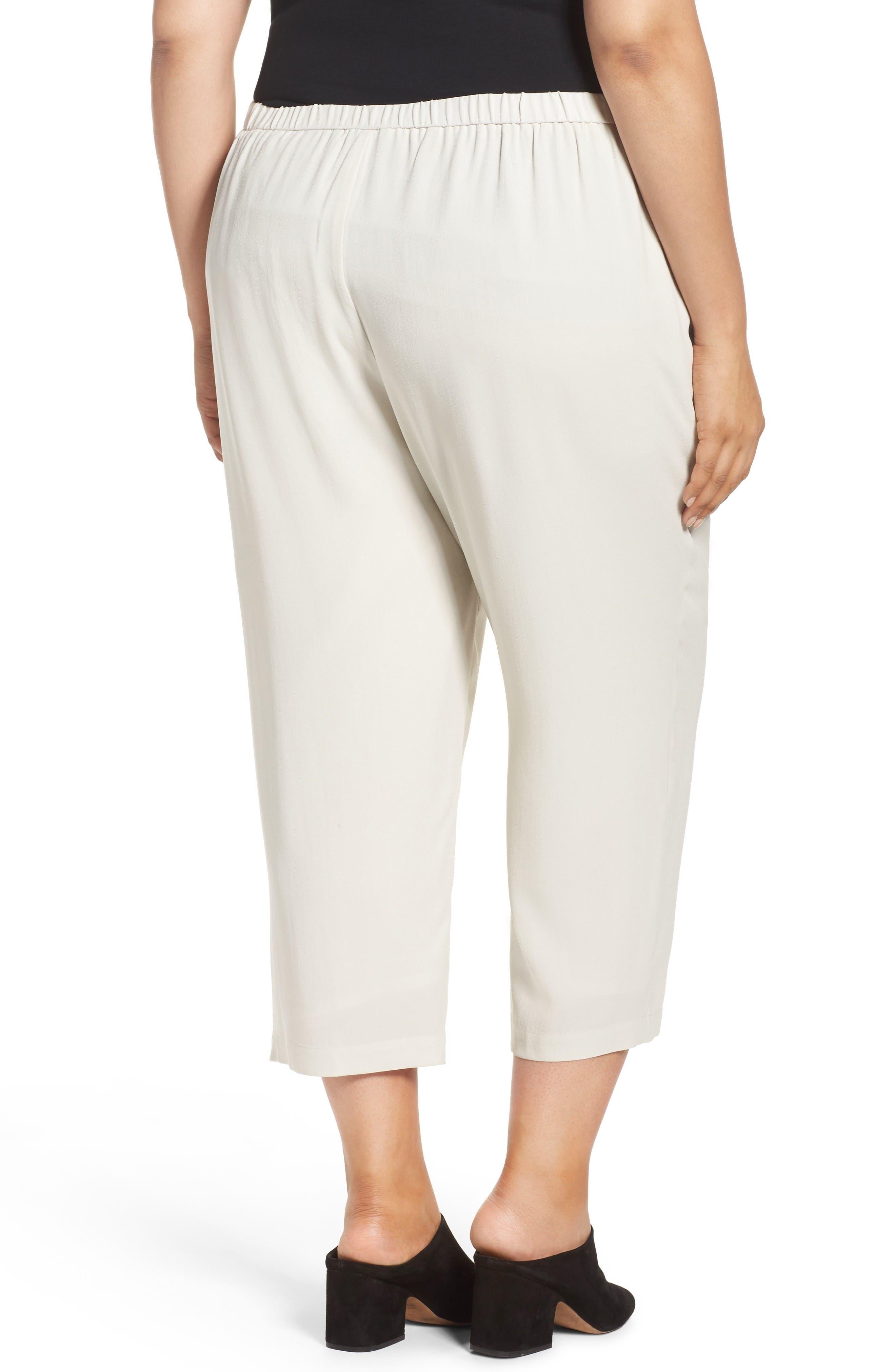 Alternate Image 2  - Eileen Fisher Silk Georgette Crop Pants (Plus Size)