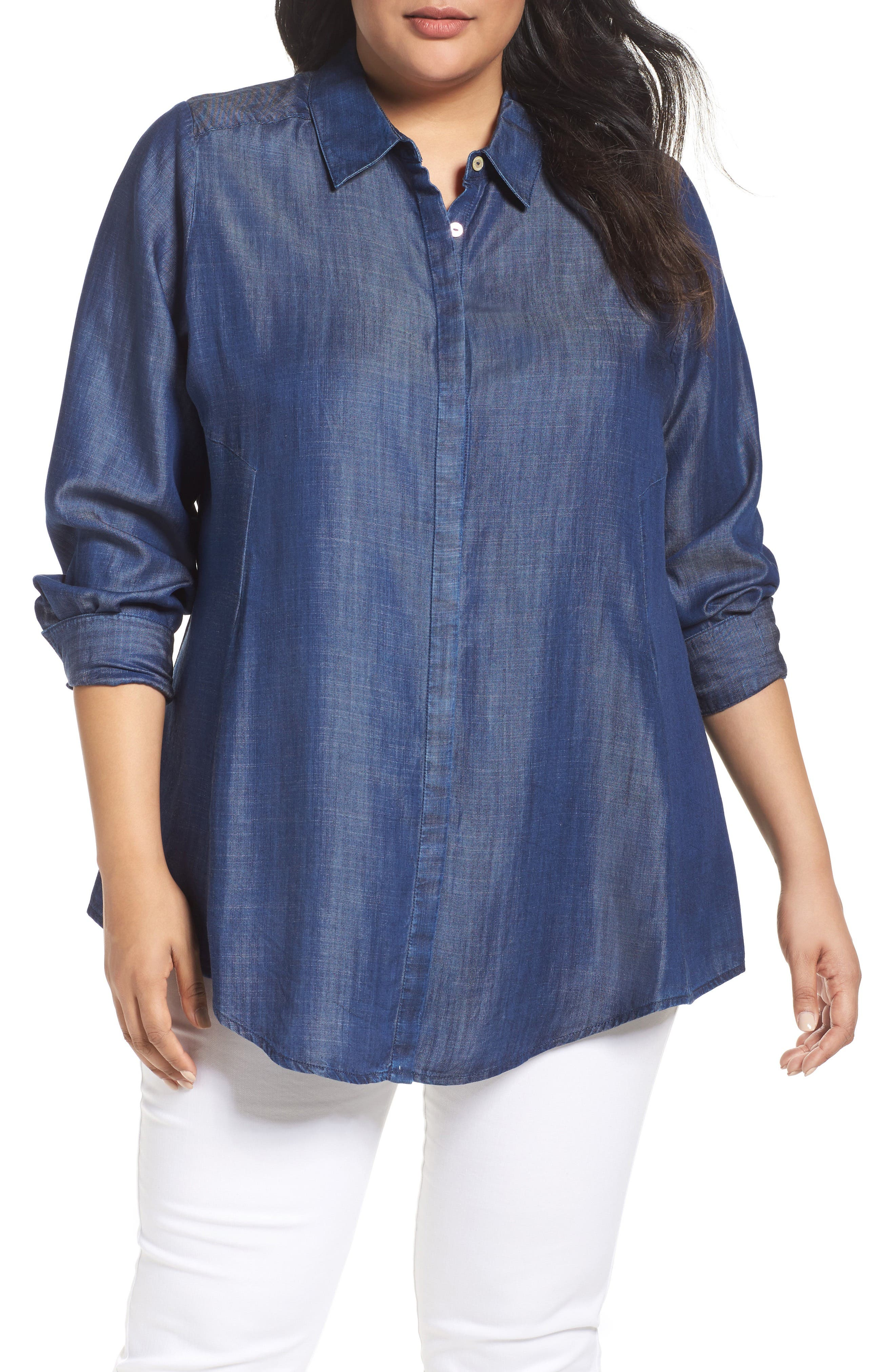 Alternate Image 1 Selected - Foxcroft Chambray Tunic (Plus Size)