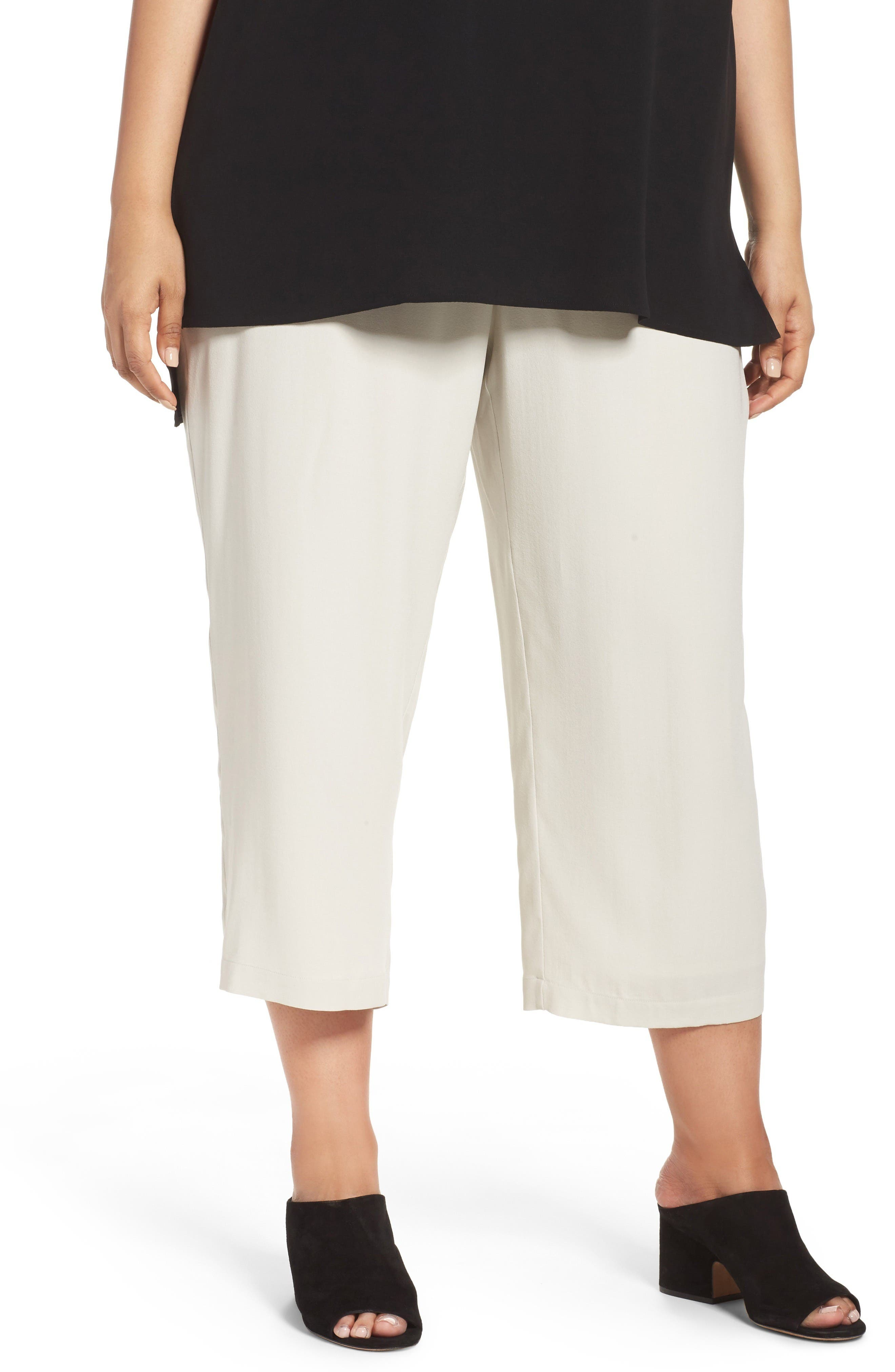 Alternate Image 1 Selected - Eileen Fisher Silk Georgette Crop Pants (Plus Size)