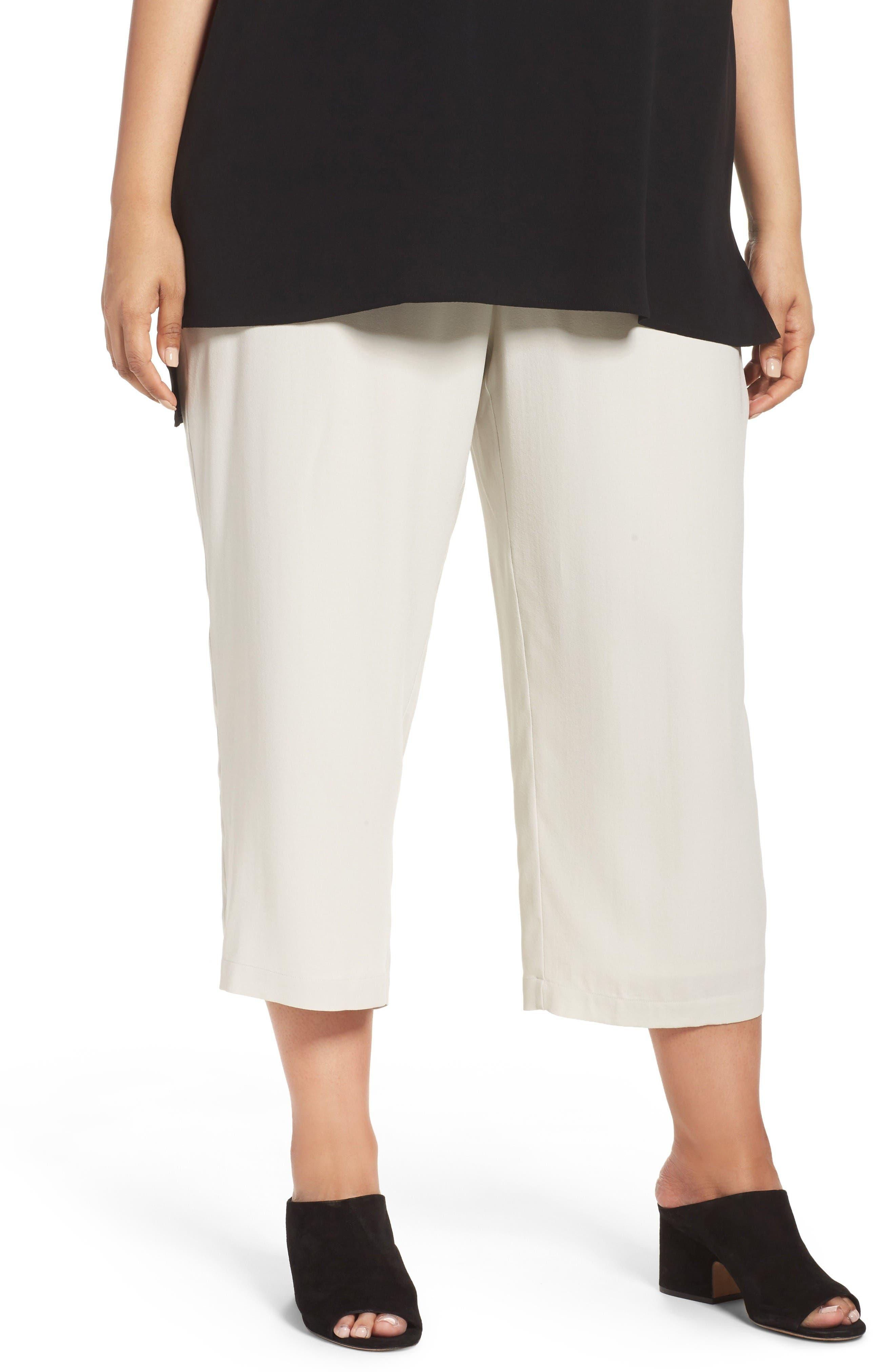 Main Image - Eileen Fisher Silk Georgette Crop Pants (Plus Size)