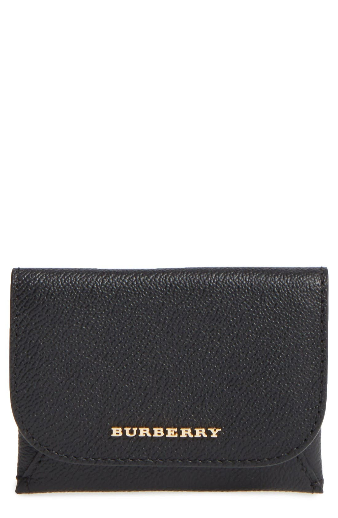 Mayfield Leather Card Case,                             Main thumbnail 1, color,                             Black