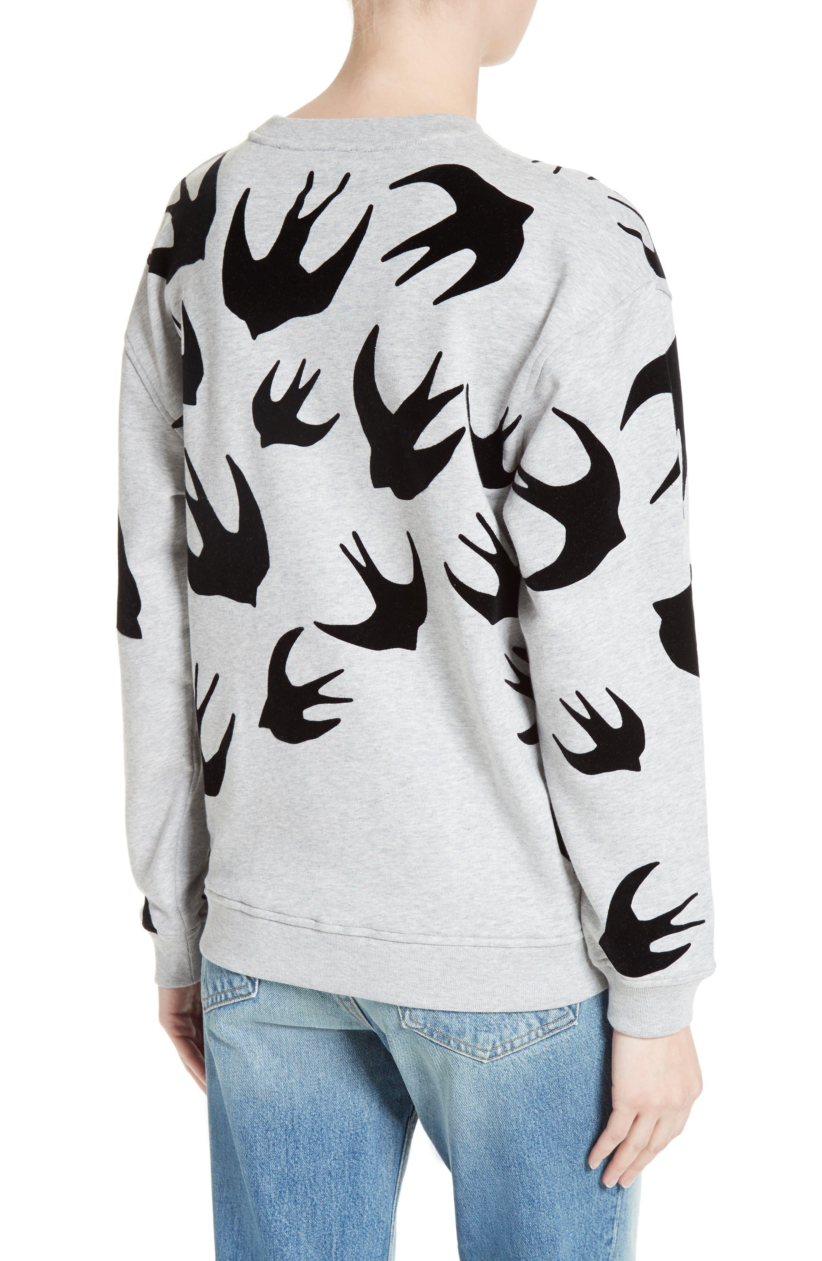 Alternate Image 2  - McQ Alexander McQueen Flocked Swallow Sweatshirt