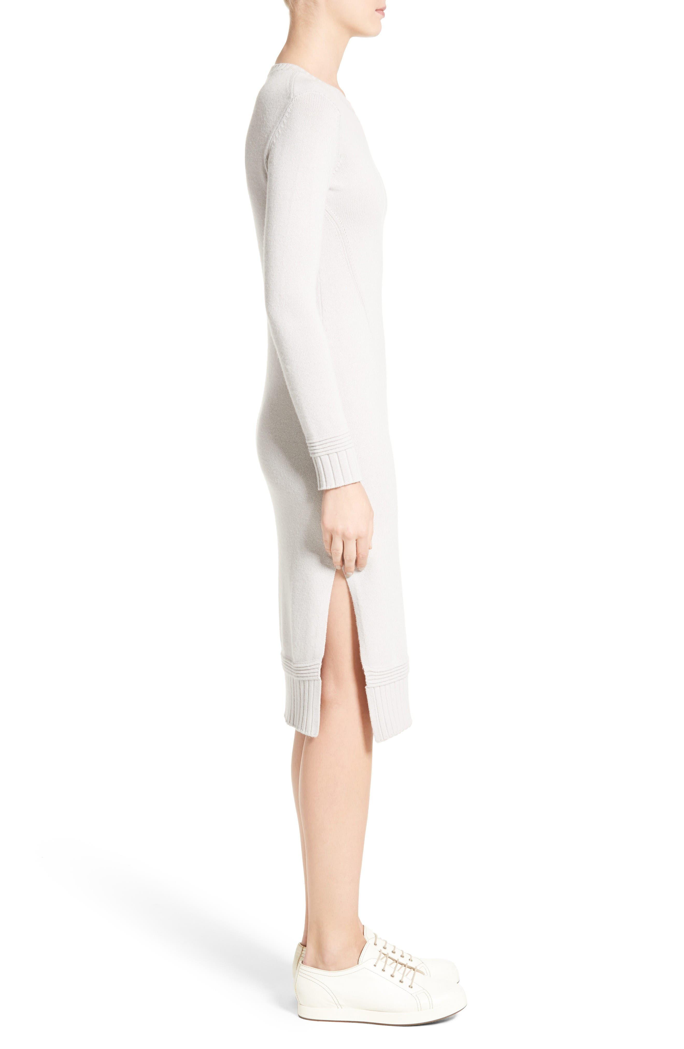 Armani Jeans Knit Sweater Dress,                             Alternate thumbnail 3, color,                             Light Grey