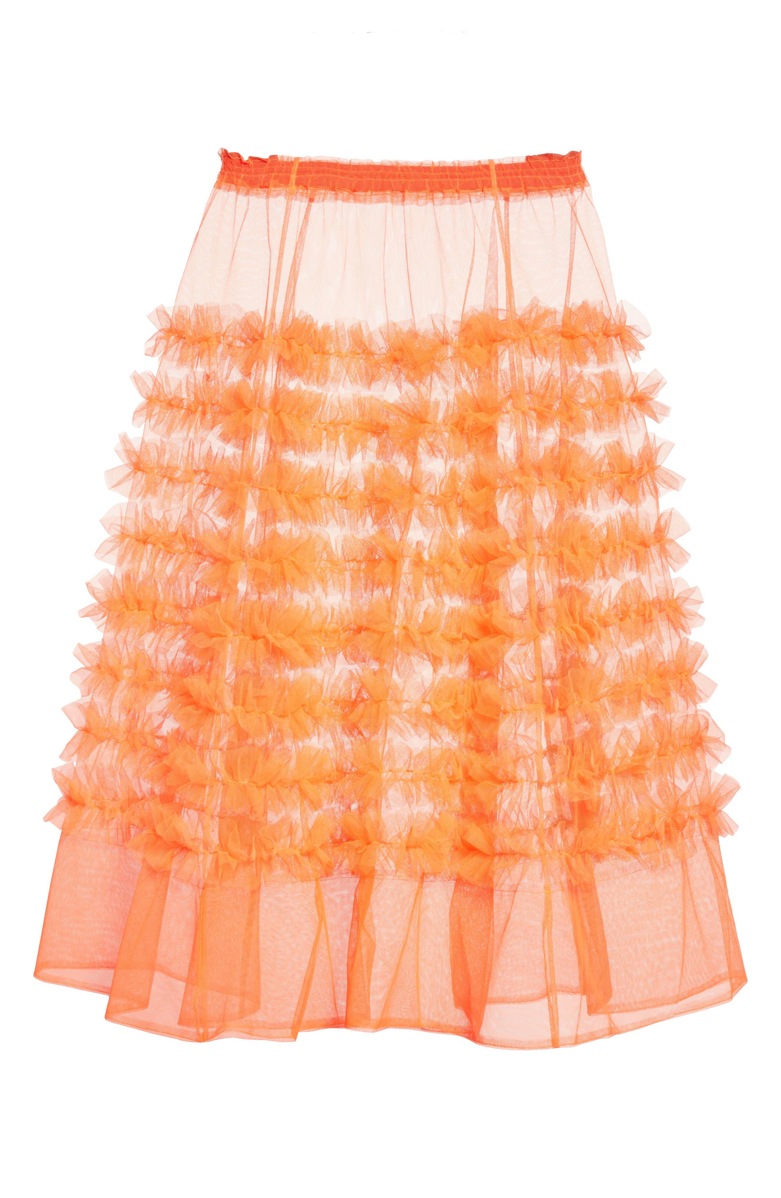 Melanie Tulle Skirt,                             Alternate thumbnail 4, color,                             Neon Tangerine