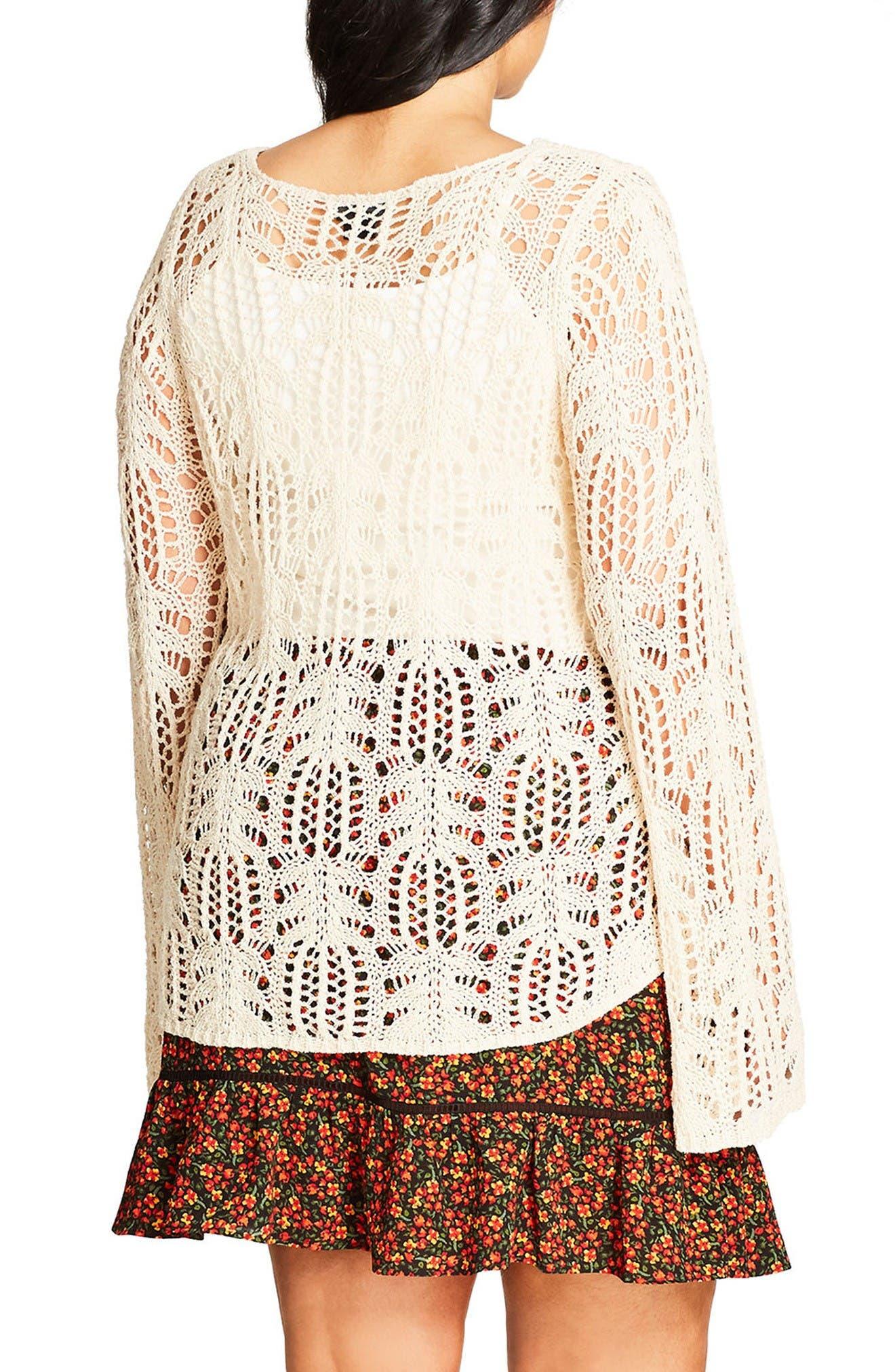 Alternate Image 2  - City Chic So Delicate Crochet Sweater (Plus Size)