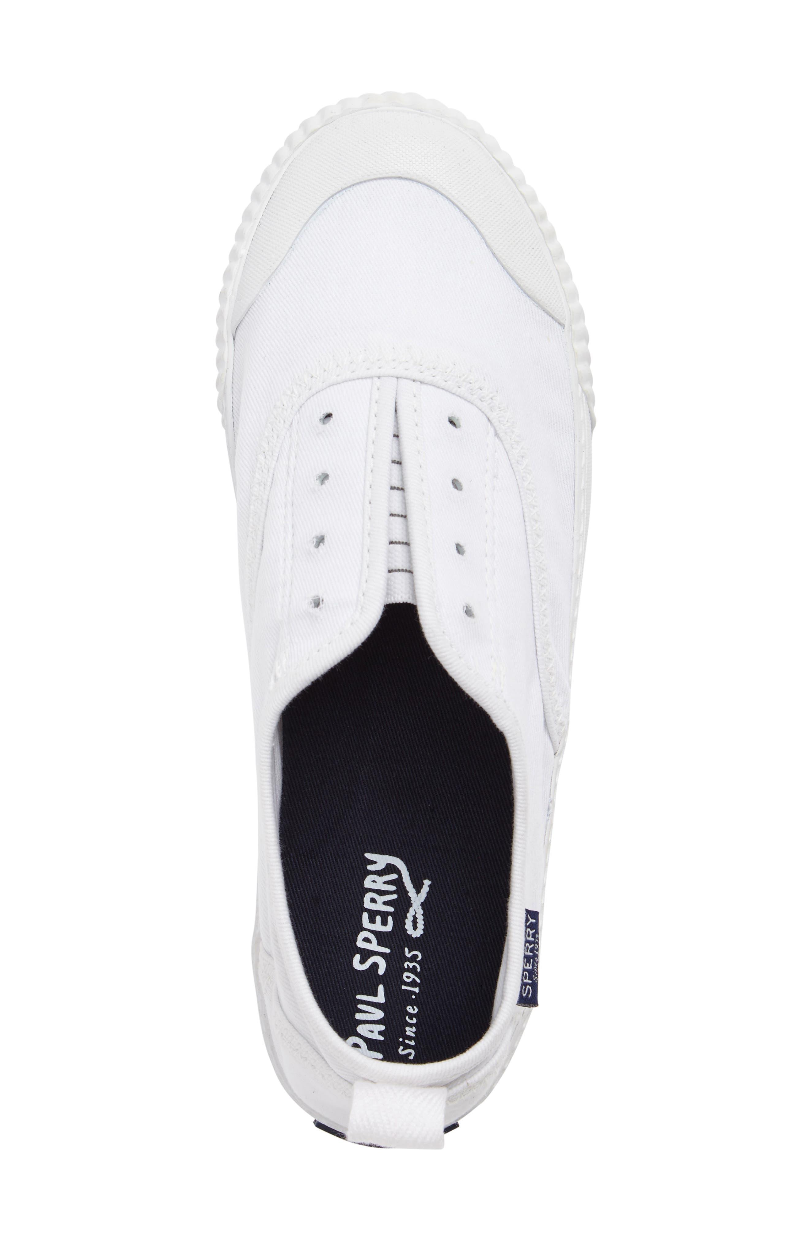 Sayel Slip-On Sneaker,                             Alternate thumbnail 5, color,                             White Fabric