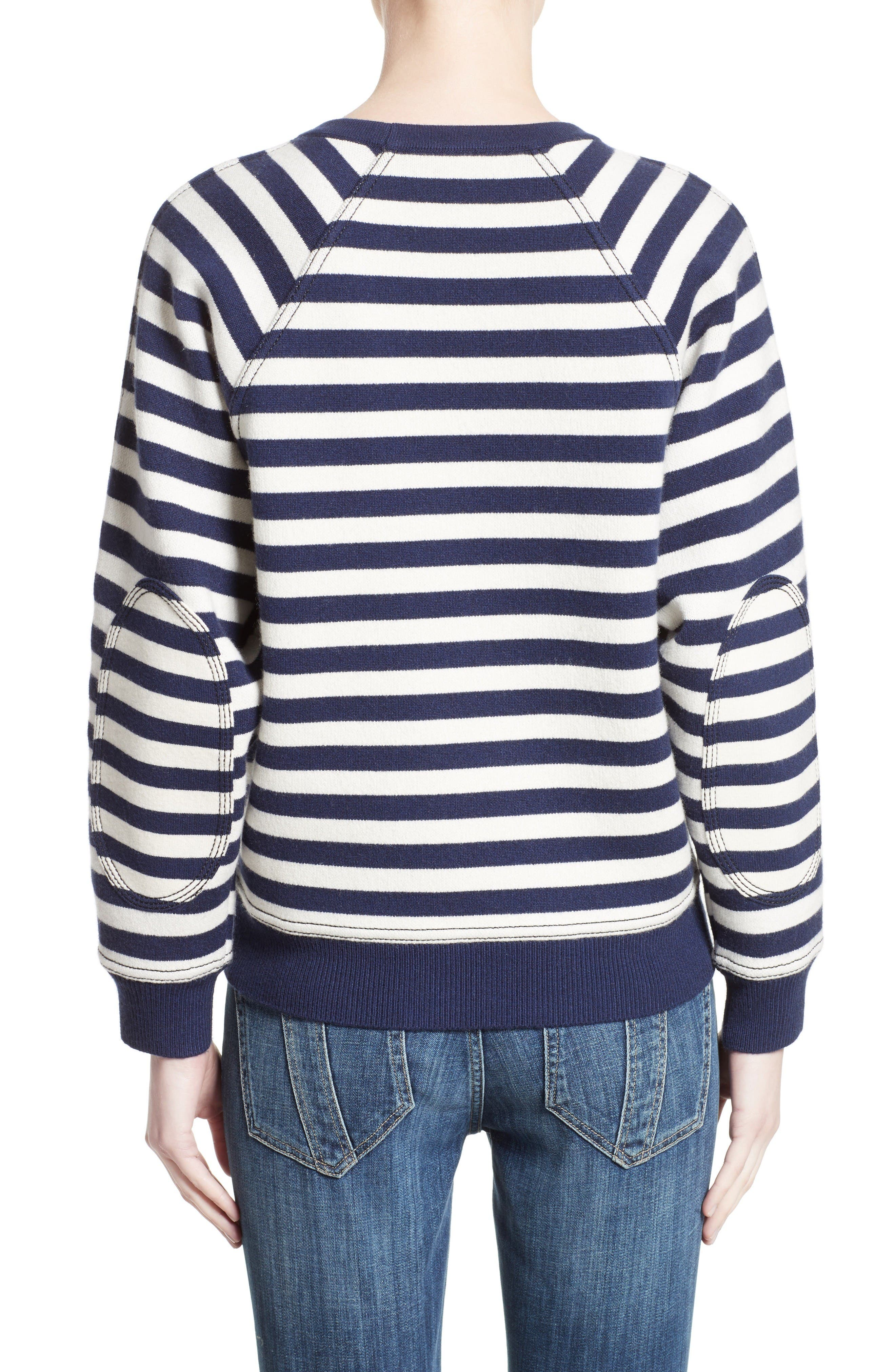 Selune Stripe Wool & Cashmere Sweater,                             Alternate thumbnail 2, color,                             Navy