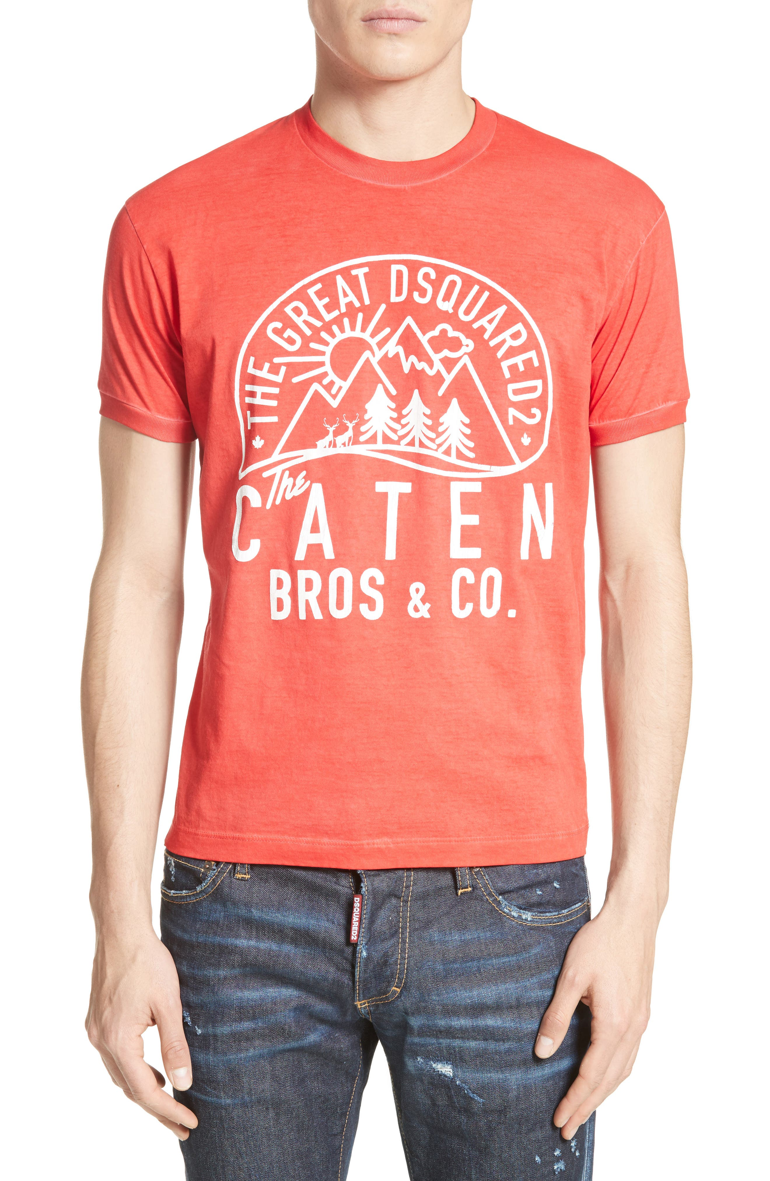 Mountain Logo Graphic T-Shirt,                         Main,                         color, Red