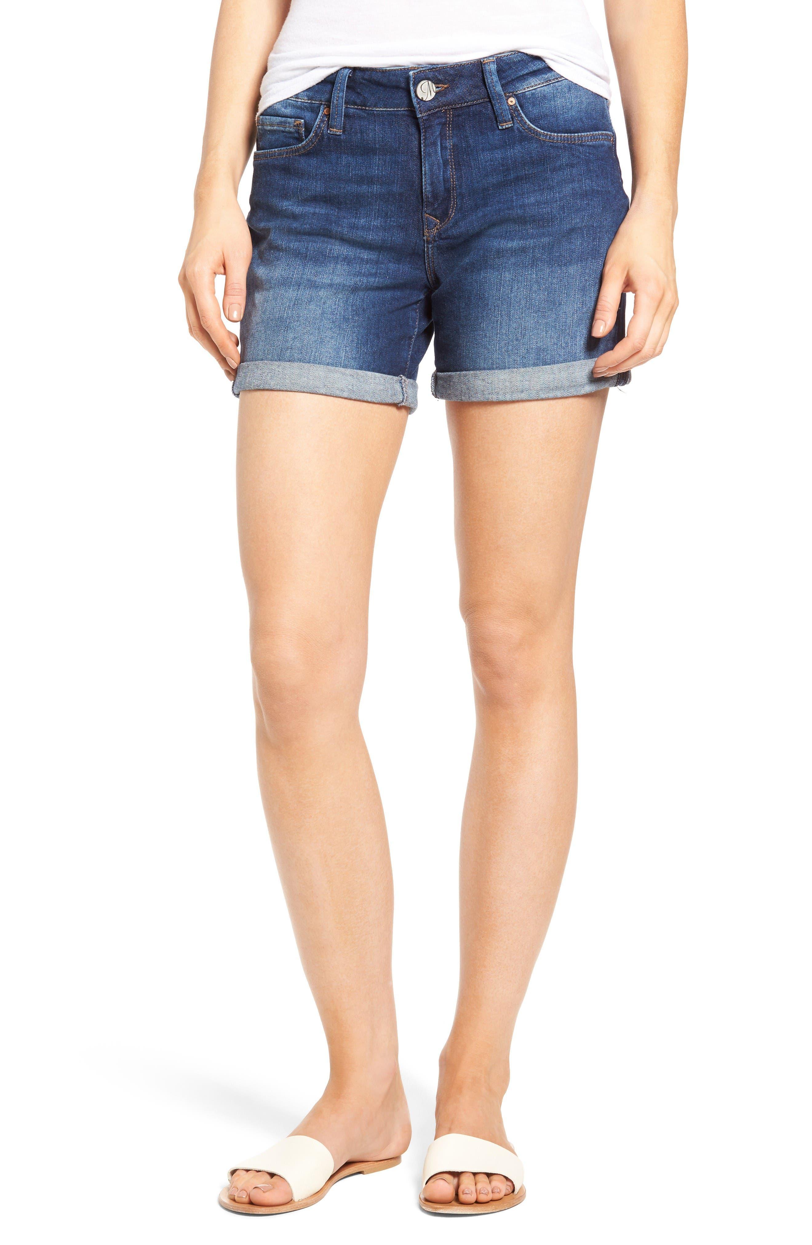 Marla Roll Cuff Denim Shorts,                             Main thumbnail 1, color,                             Dark