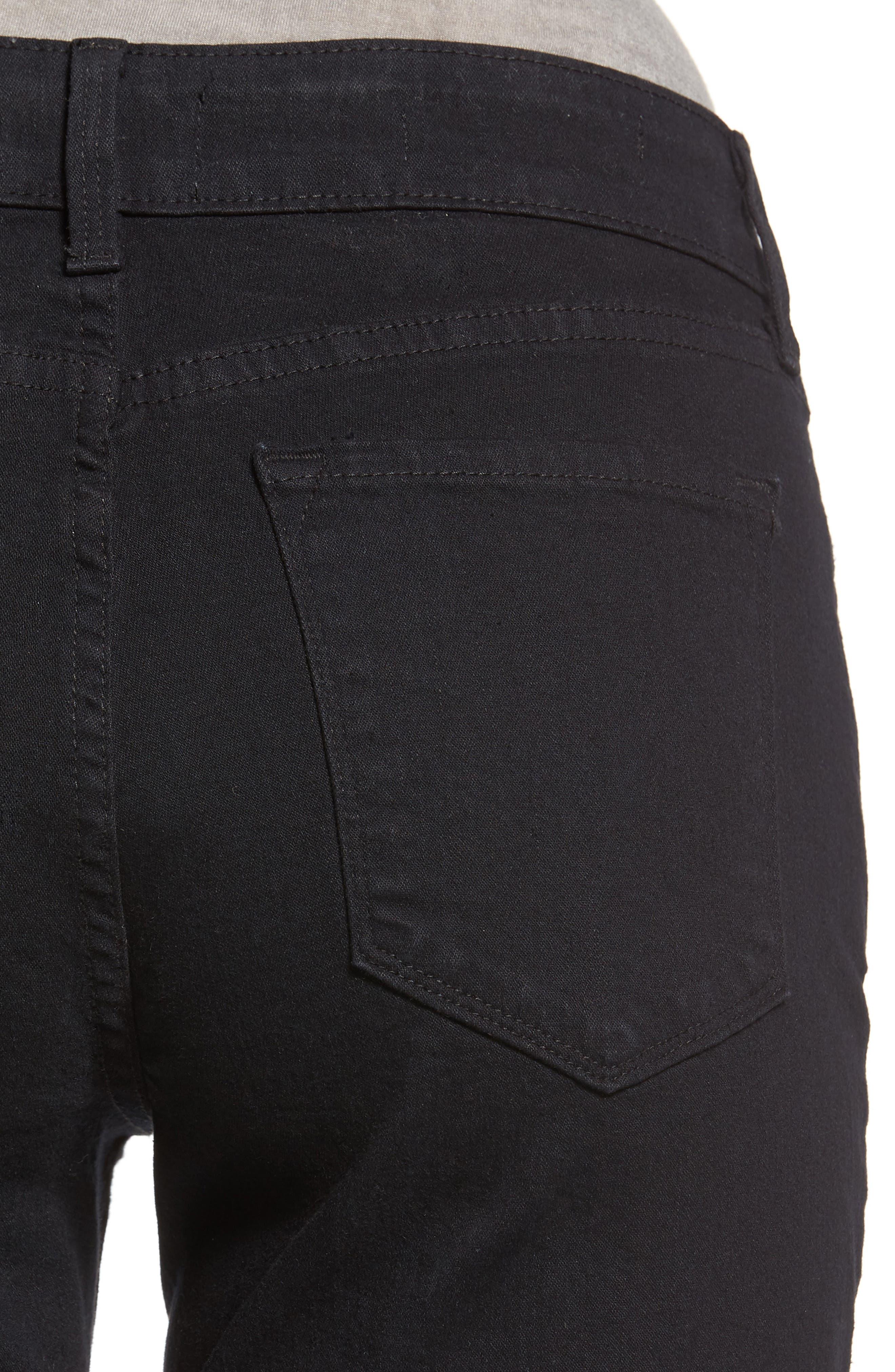 Marilyn Stretch Straight Leg Jeans,                             Alternate thumbnail 4, color,                             Black