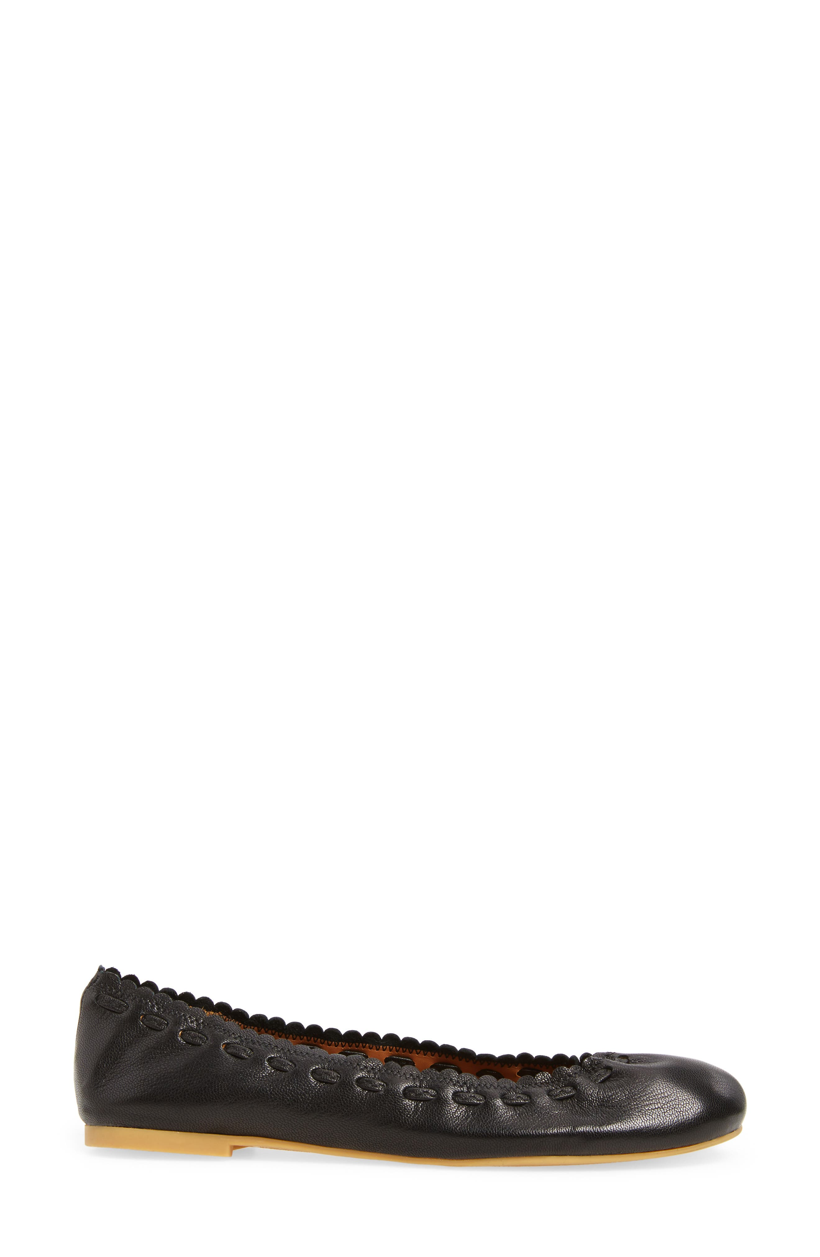 'Jane' Ballerina Flat,                             Alternate thumbnail 3, color,                             Black/ Goat Leather